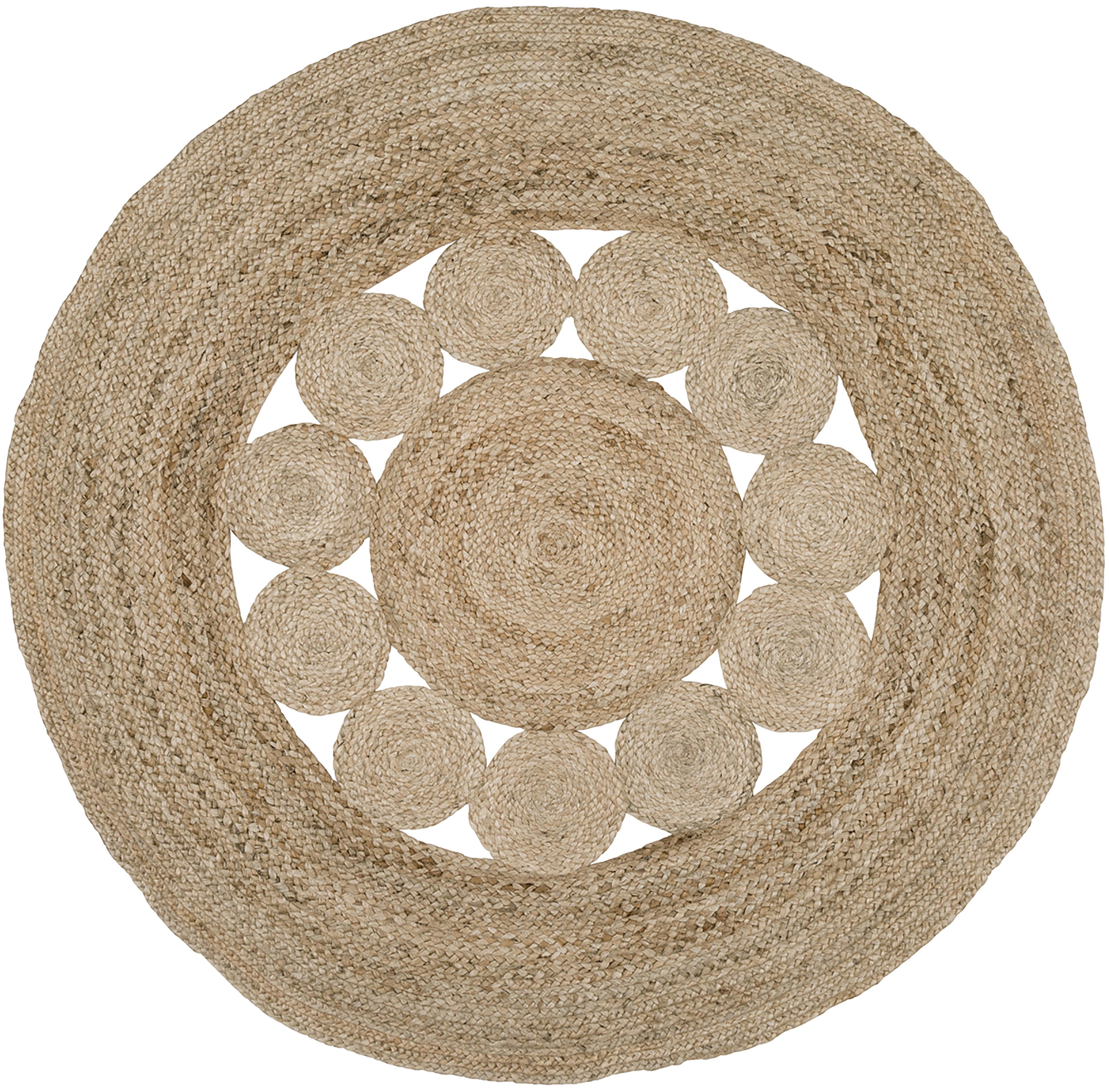 Alfombra redonda artesanal de yute Tapu, estilo boho, Parte superior: yute, Reverso: yute, Beige, Ø 150 cm (Tamaño M)