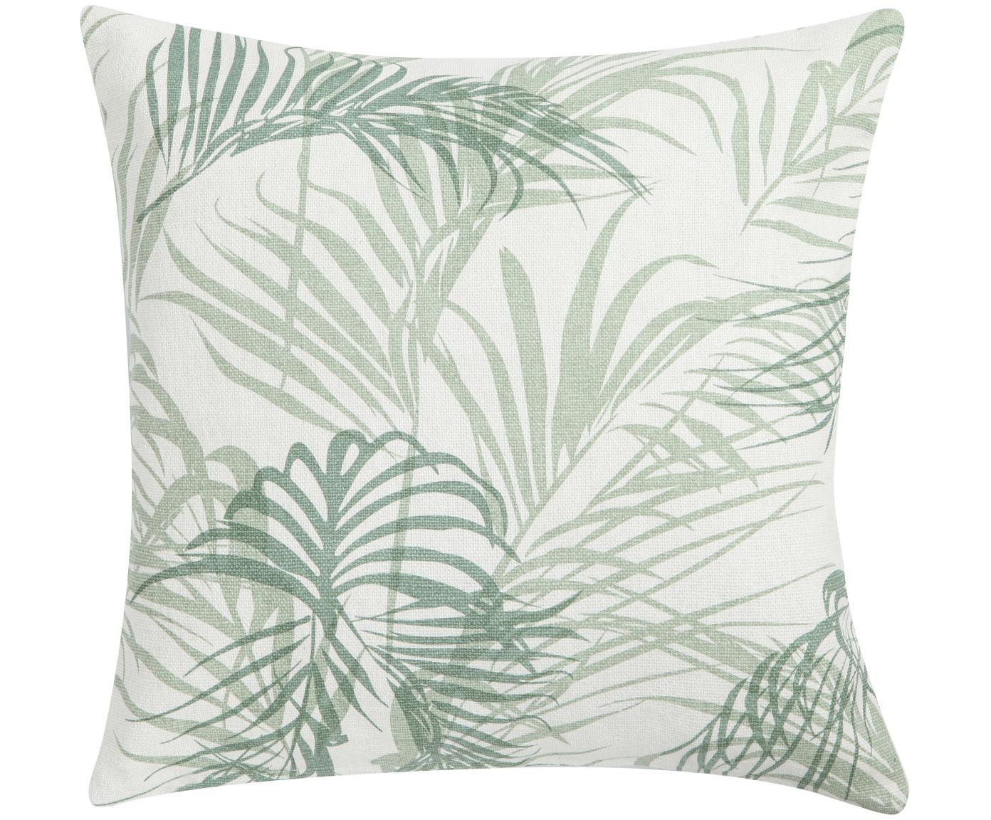 Cojín Palm Leaf, con relleno, Funda: 100%algodón, Blanco crudo, verde, An 45 x L 45 cm