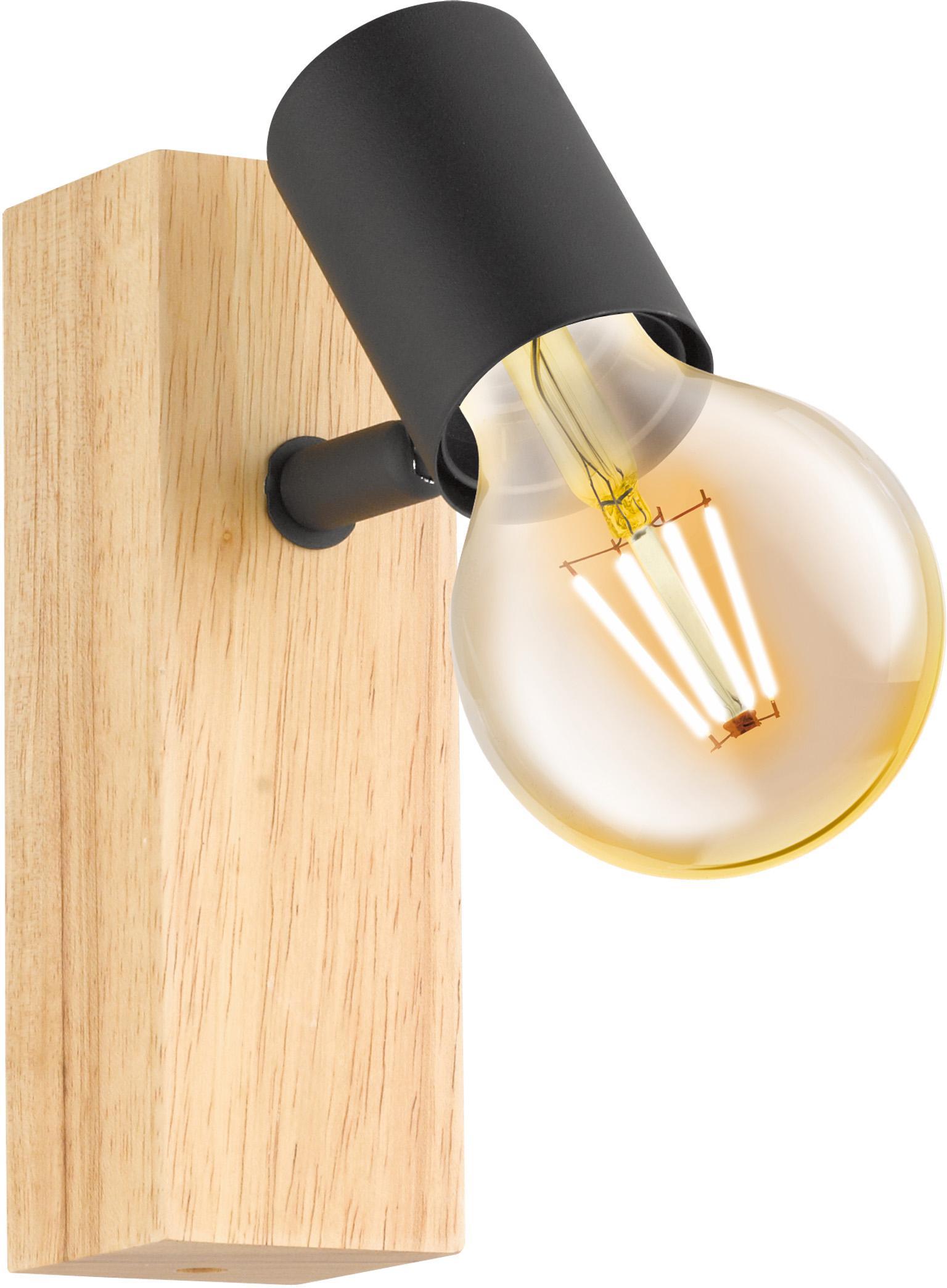 Wandlamp Townshend, Fitting: gecoat metaal, Zwart, houtkleurig, 5 x 17 cm