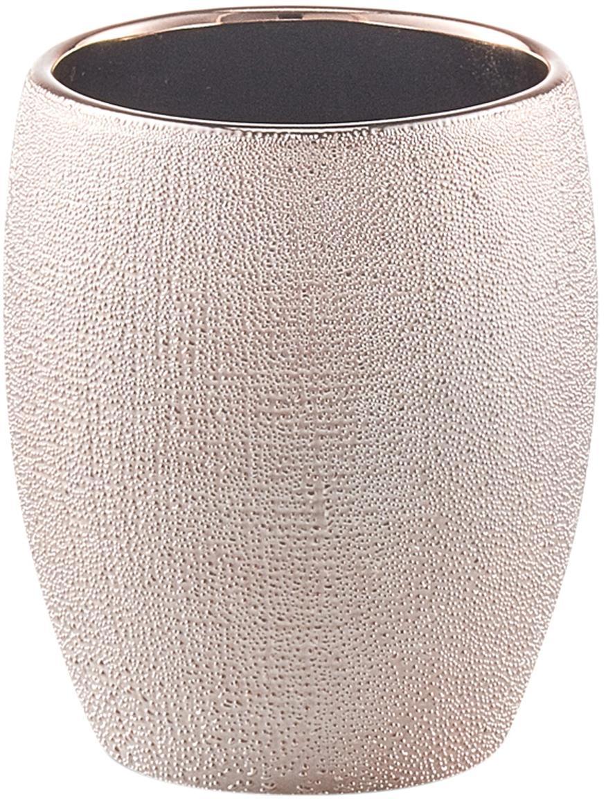 Kubek na szczoteczki z kamionki Glitter, Kamionka, Różowozłoty, Ø 8 x W 10 cm