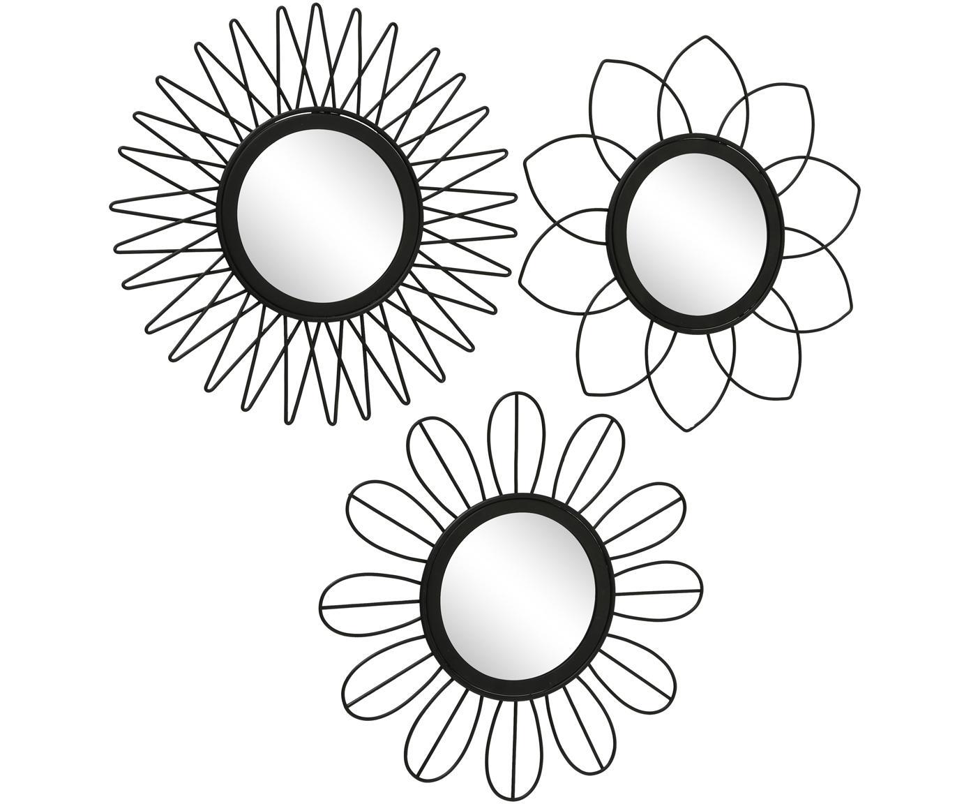 Ronde wandspiegelsset Naima, 3-delig, Metaal, spiegelglas, Zwart, Ø 27 cm