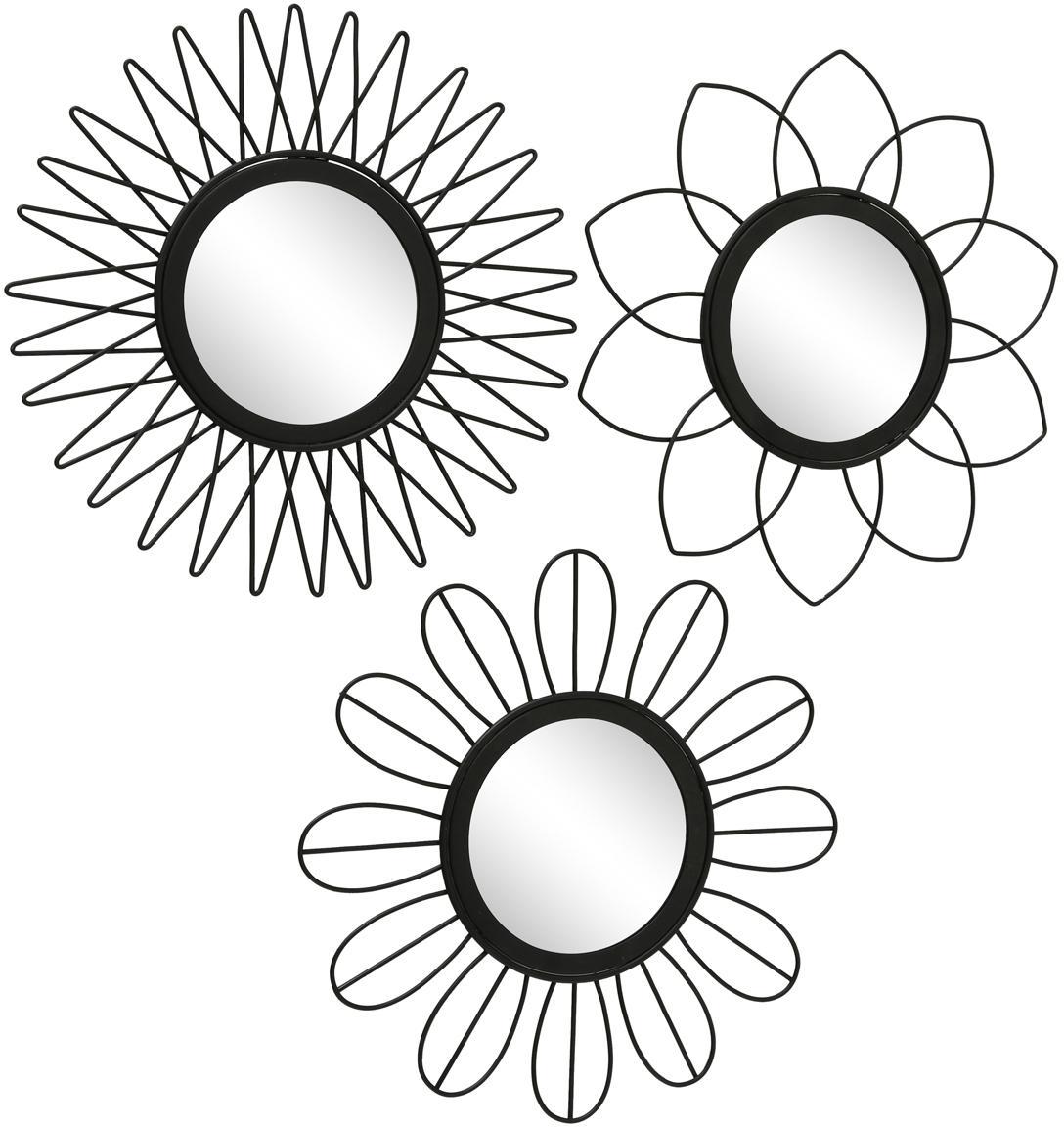 Komplet okrągłych luster ściennych Naima, 3 elem., Metal, szkło lustrzane, Czarny, Ø 27 cm