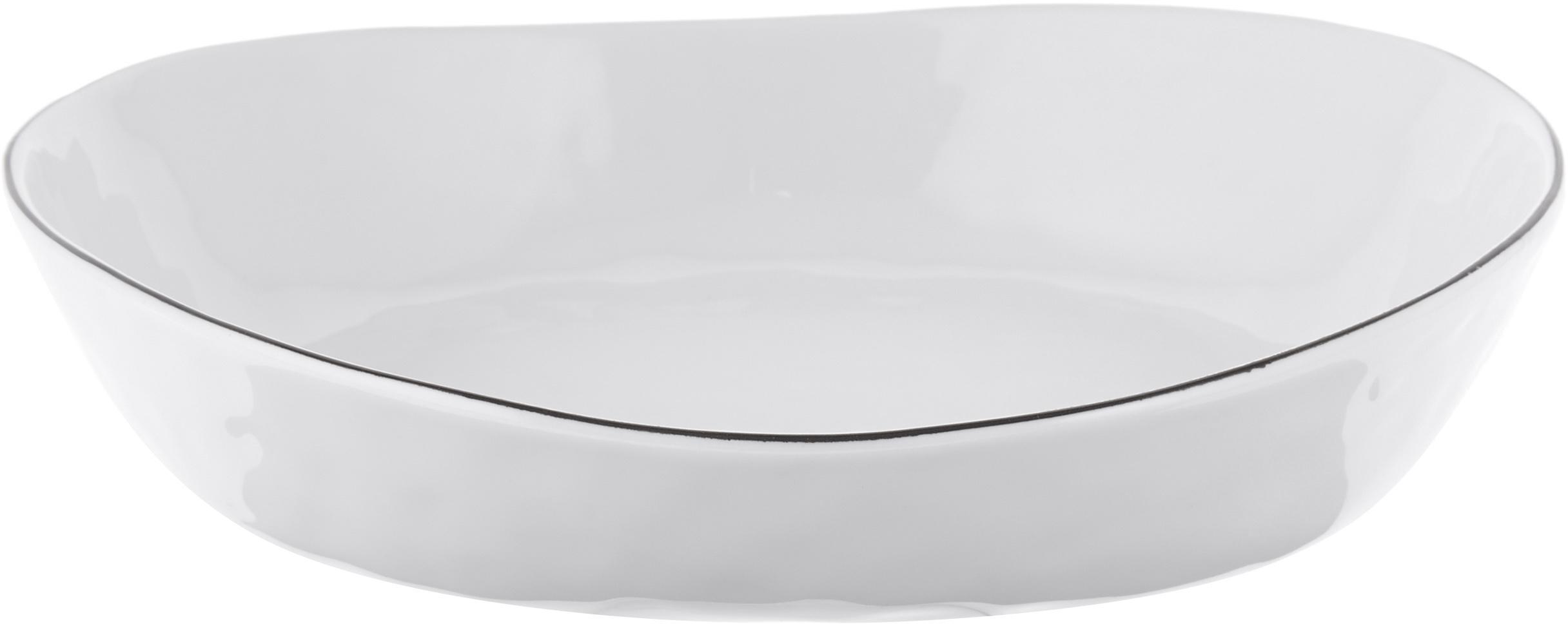 Handgemachte Servierschalen Salt Ø 20 cm mit schwarzem Rand, 2 Stück, Porzellan, Gebrochenes Weiß, Schwarz, 20 x 4 cm