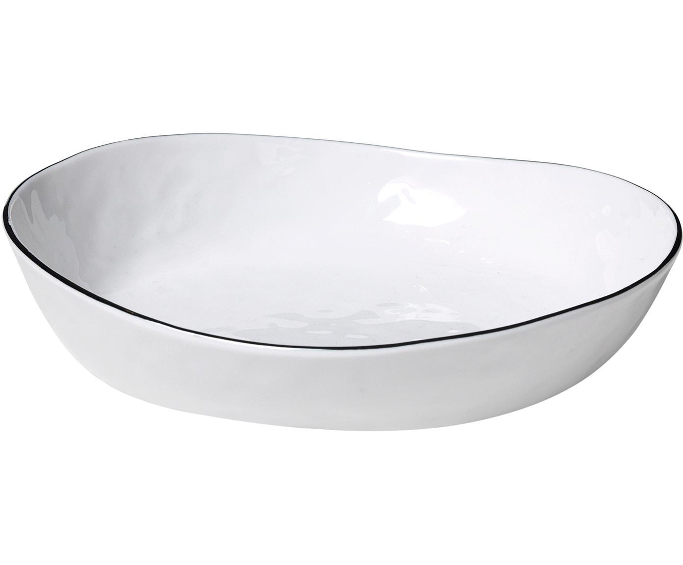 Ręcznie wykonana miska Salt, 2szt., Porcelana, Złamana biel, czarny, Ø 20 x W 4 cm