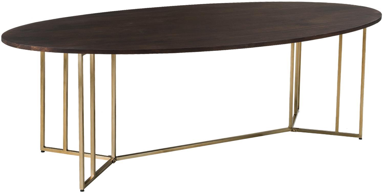 Ovaler Massivholz Esstisch Luca in Braun, Tischplatte: Massives Mangoholz, lacki, Gestell: Metall, beschichtet, Tischplatte: Mangoholz, dunkel lackiertGestell: Goldfarben, B 240 x T 100 cm