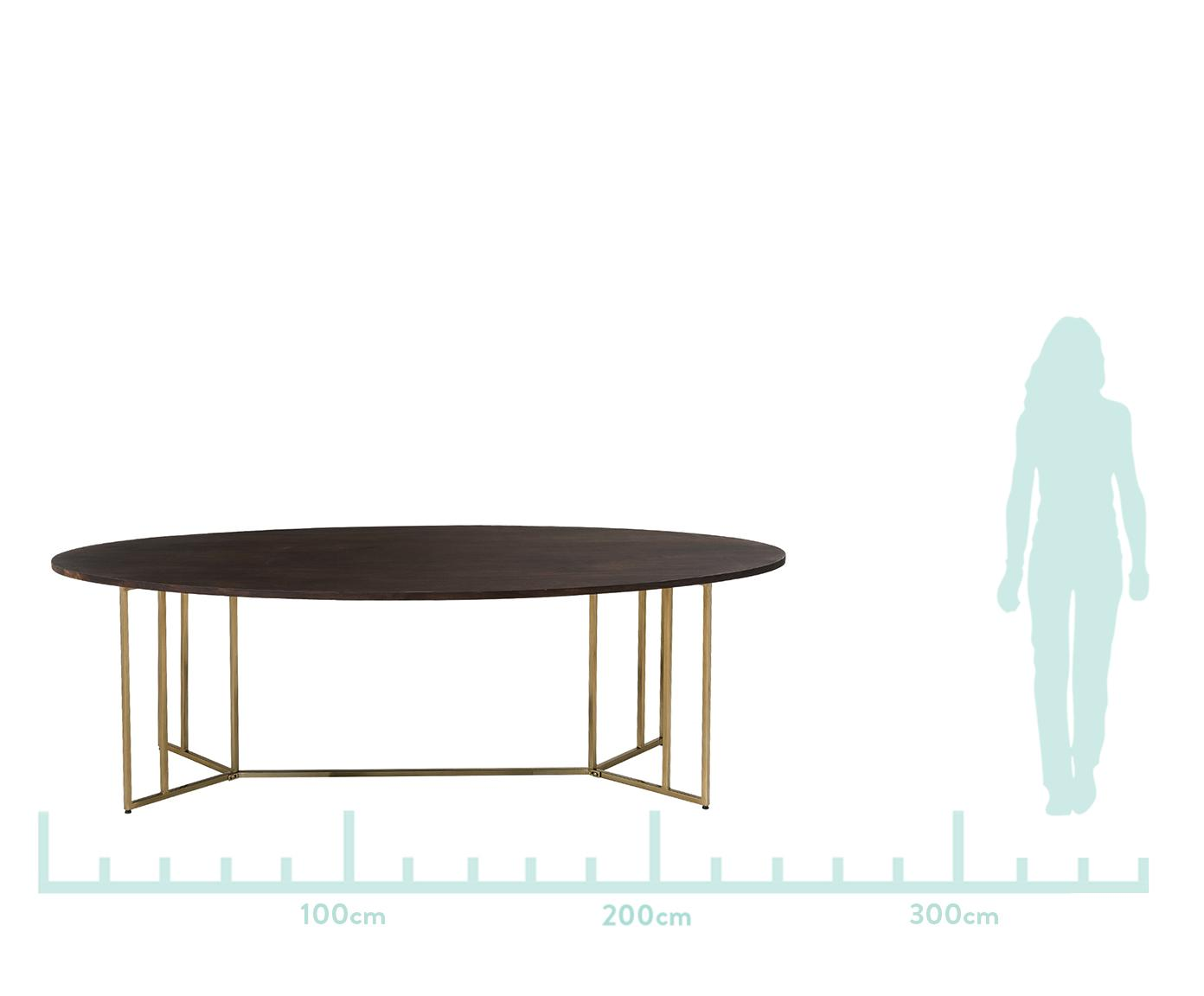 Owalny stół do jadalni z blatem z litego drewna Luca, Blat: drewno mangowe, Stelaż: metal powlekany, Blat: drewno mangowe, ciemny, lakierowany Stelaż: odcienie złotego, S 240 x G 100 cm