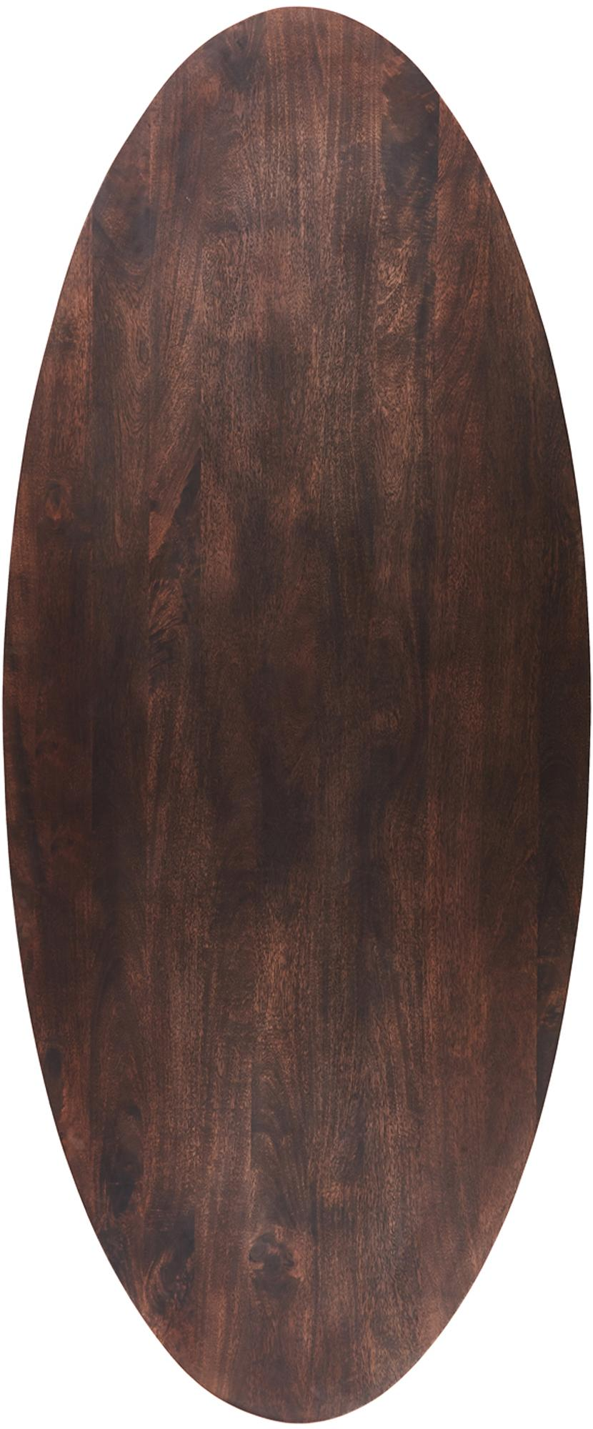 Ovale massief houten eettafel Luca in bruin, Tafelblad: gelakt massief mangohout, Frame: gecoat metaal, Tafelblad: donker gelakt mangohout. Frame: goudkleurig, B 240 x D 100 cm