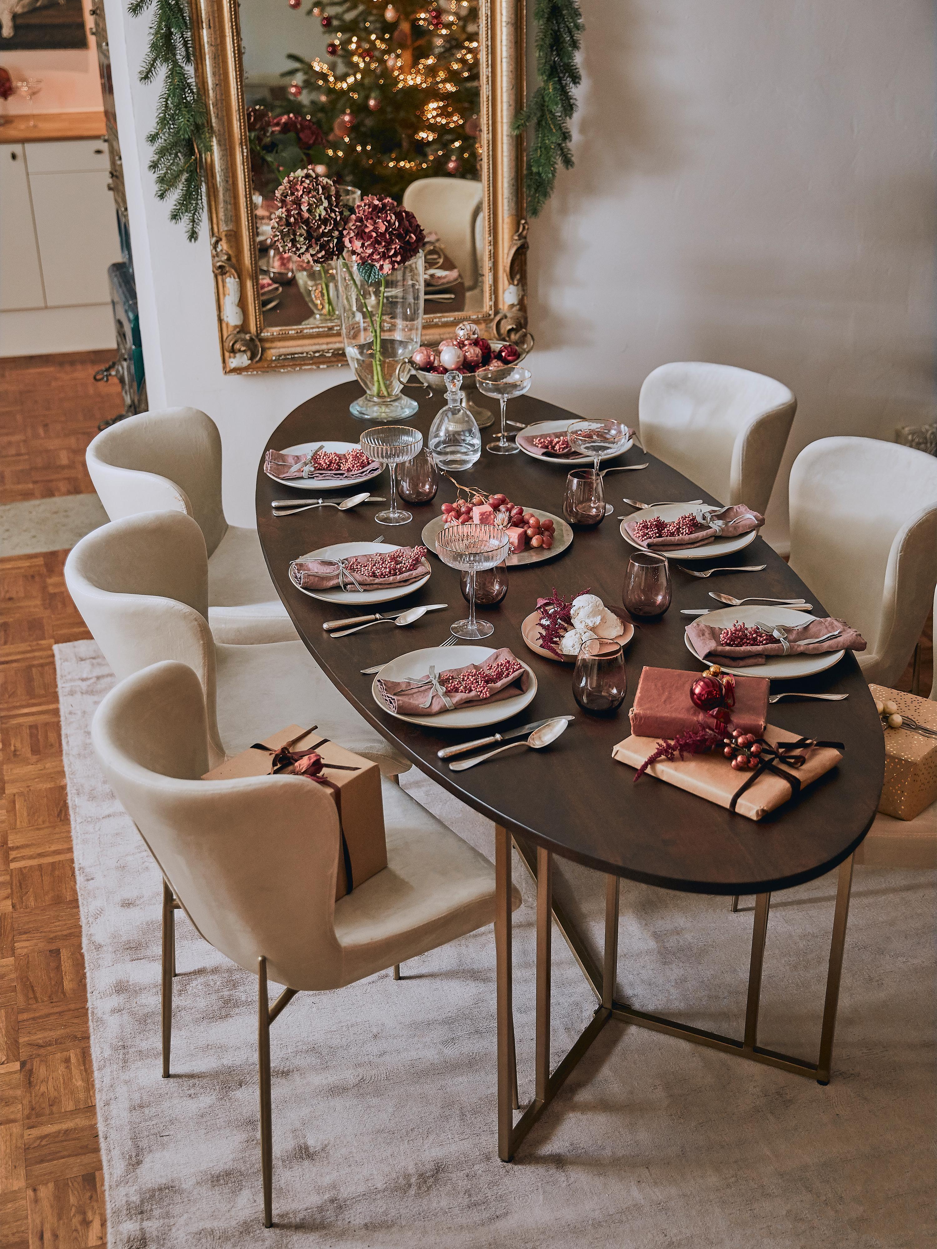 Ovaler Massivholz Esstisch Luca, Tischplatte: Massives Mangoholz, Gestell: Metall, beschichtet, Tischplatte: Mangoholz, dunkel lackiertGestell: Goldfarben, B 240 x T 100 cm