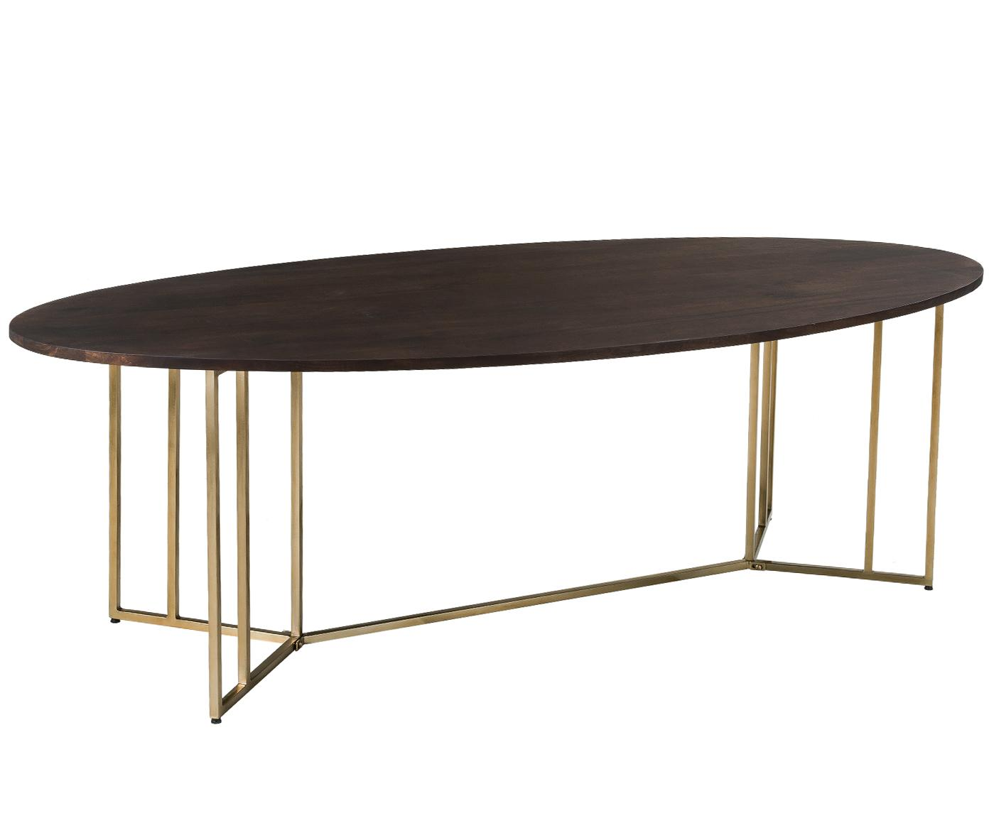 Ovale massiefhouten eettafel Luca, Tafelblad: mangohout, Frame: gecoat metaal, Tafelblad: donker gelakt mangohout. Frame: goudkleurig, B 240 x D 100 cm