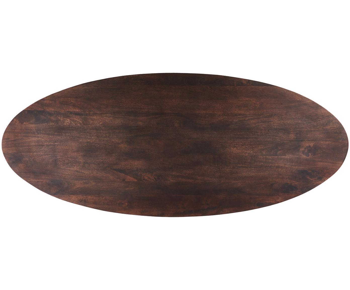 Owalny stół do jadalni Luca, Blat: drewno mangowe, Stelaż: metal powlekany, Blat: drewno mangowe, ciemny, lakierowany Stelaż: odcienie złotego, S 240 x G 100 cm