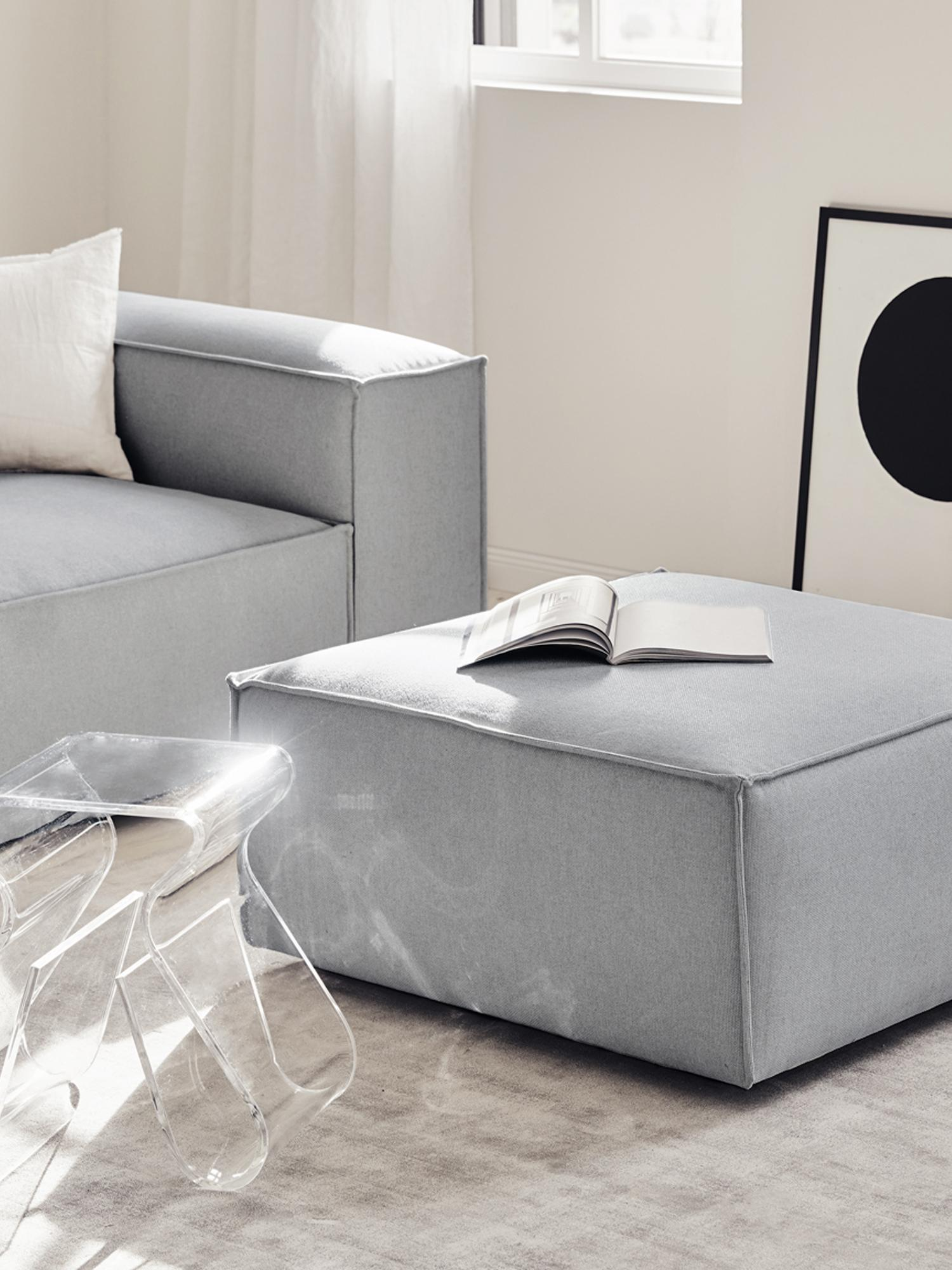 Sofa-Hocker Lennon, Bezug: Polyester 35.000 Scheuert, Gestell: Massives Kiefernholz, Spe, Füße: Kunststoff, Webstoff Hellgrau, 88 x 43 cm
