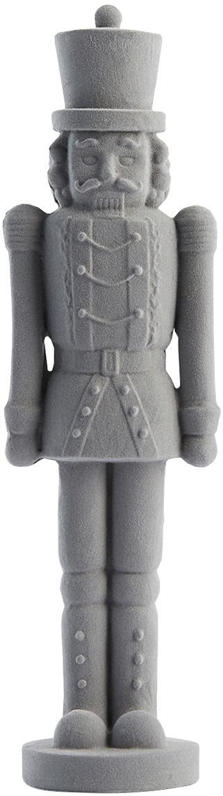 Figura decorativa Sella, Poliresina, terciopelo de poliéster, Gris, An 7 x Al 24 cm