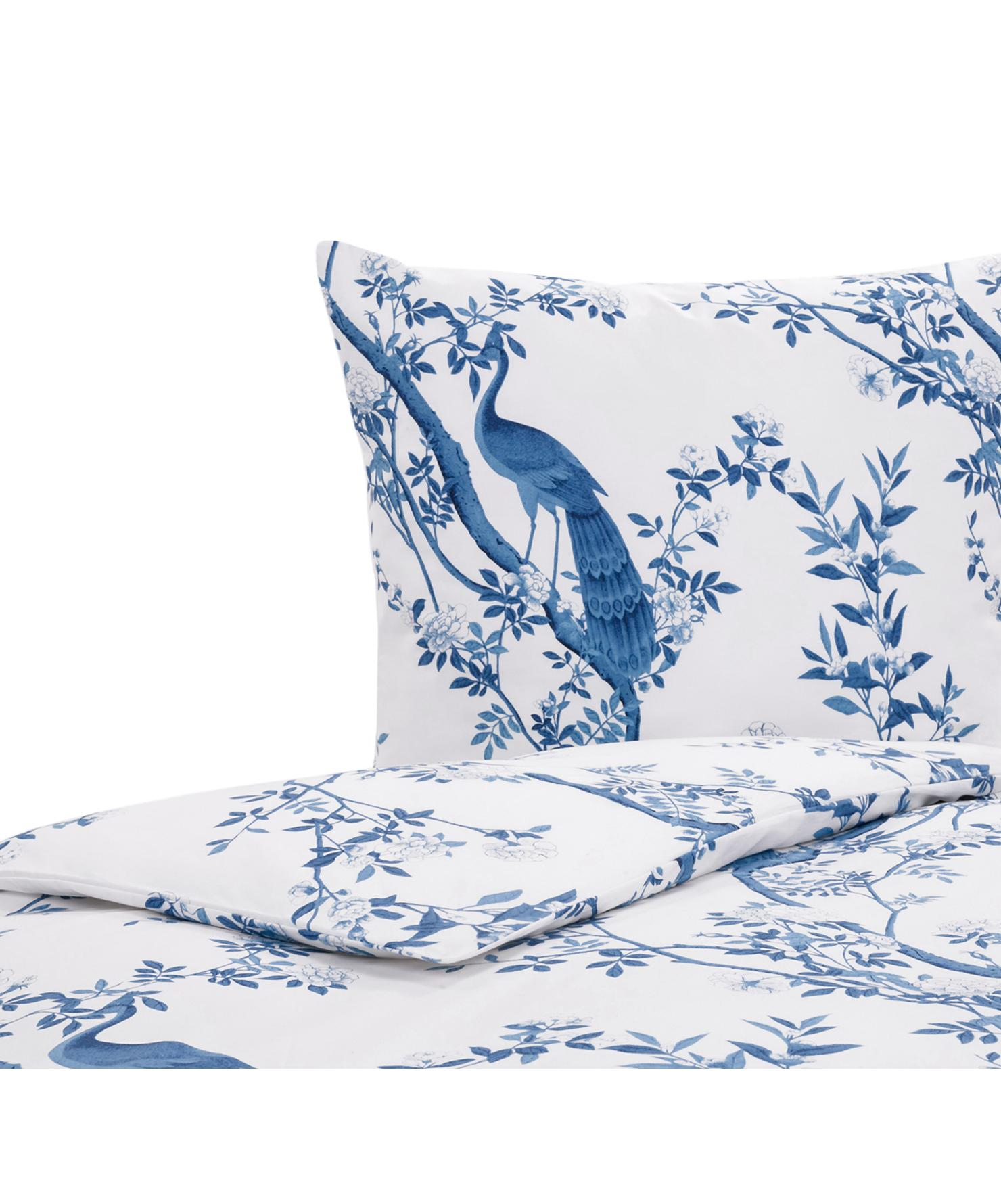 Parure copripiumino in percalle Annabelle, Tessuto: percalle, Blu,bianco, 155 x 200 cm