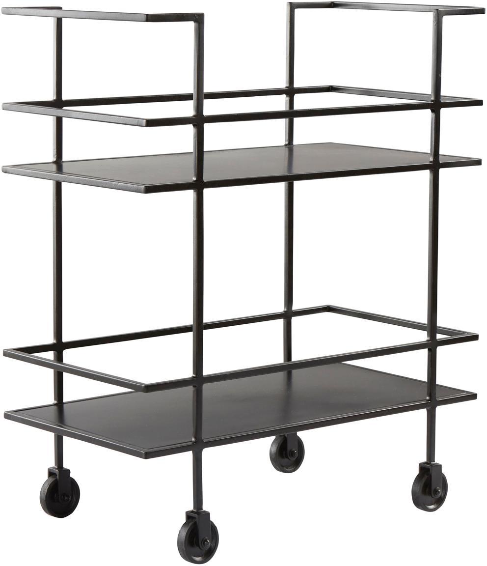 Camarera Lunavale, estilo moderno, Metal recubierto, Negro, An 74 x Al 85 cm