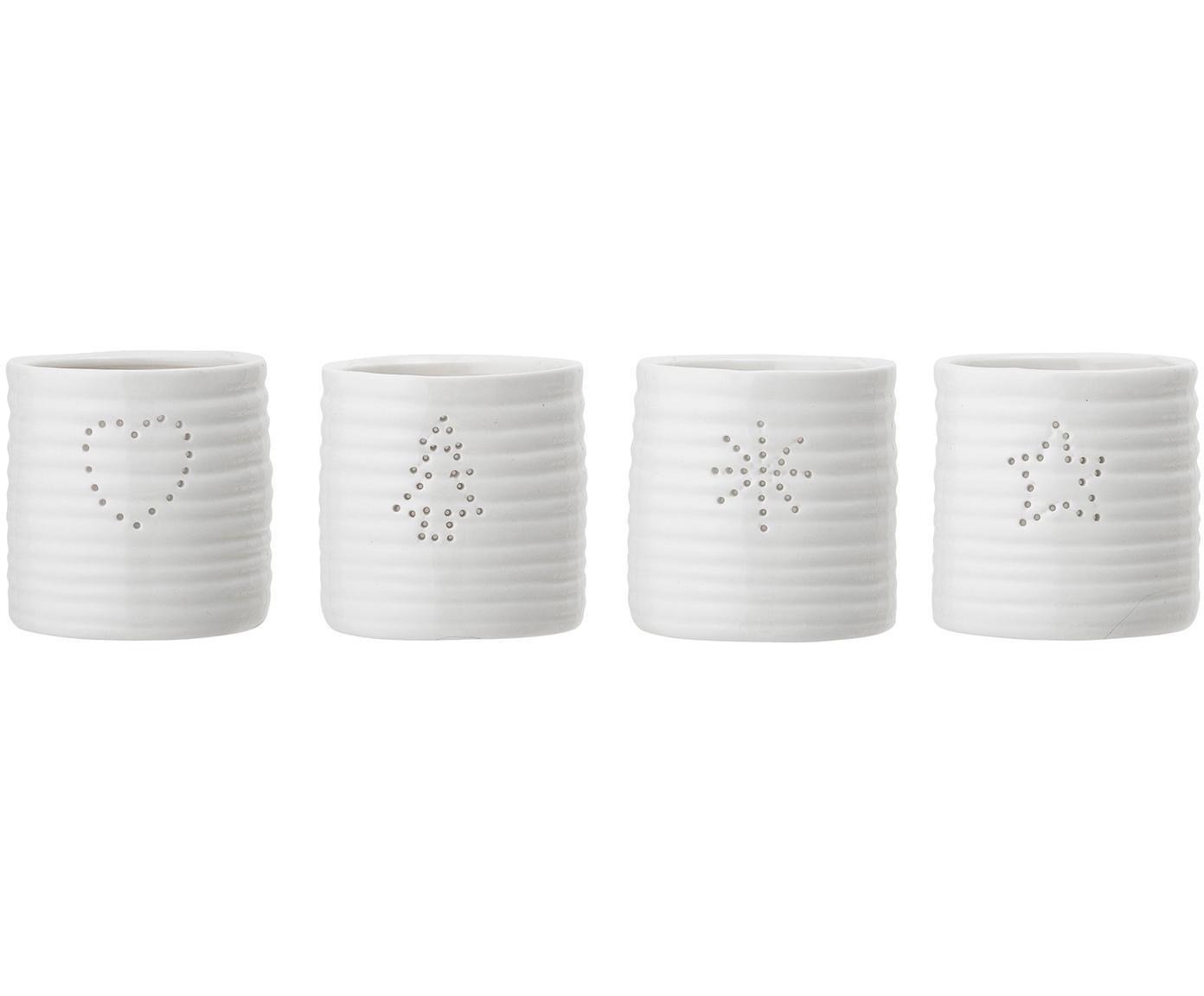 Teelichthalter-Set Sara, 4-tlg., Steingut, Weiss, Ø 7 x H 7 cm