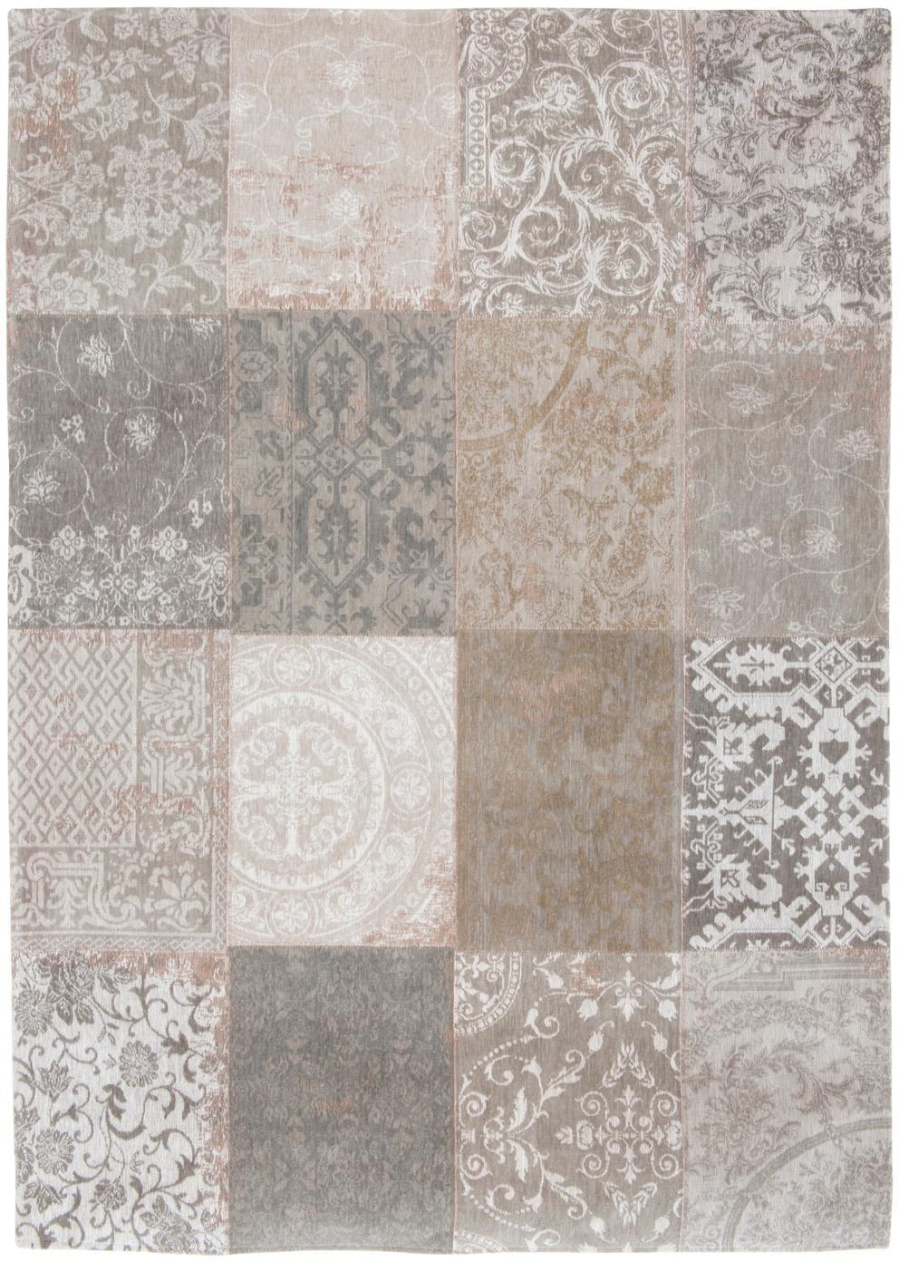 Tappeto con disegno patchwork Multi, Retro: Miscela di cotone, rivest, Beige, grigio, Larg.170 x Lung. 240 cm  (taglia M)
