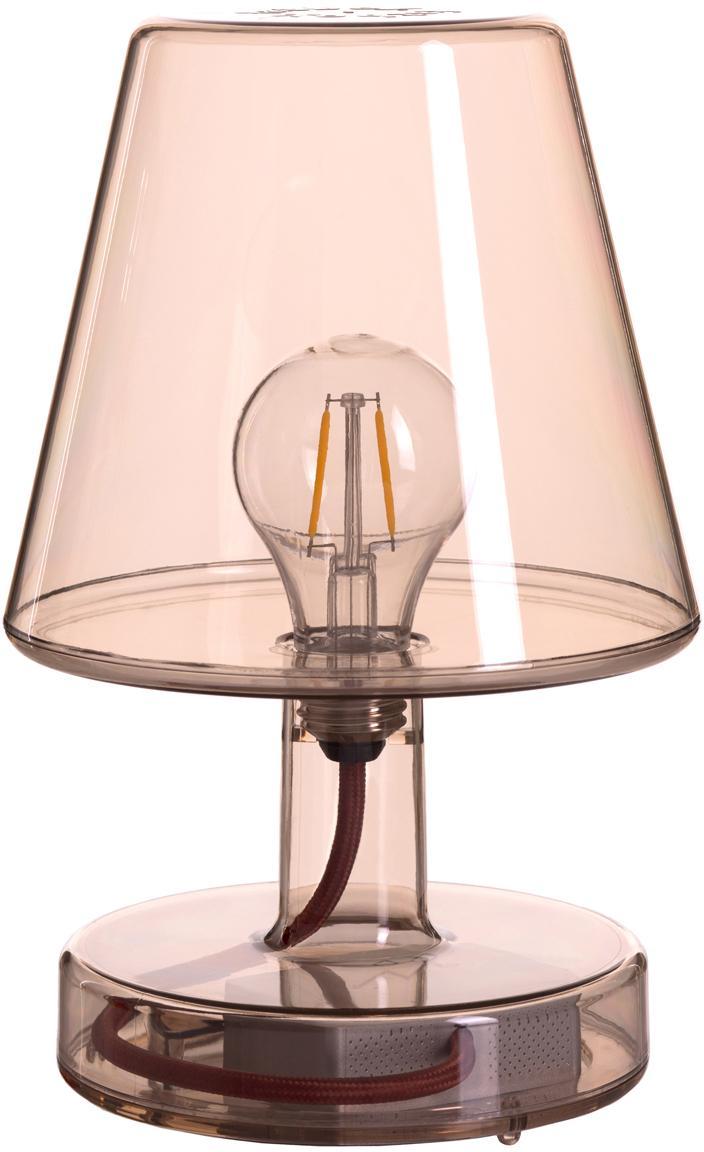 Mobile LED Außentischleuchte Transloetje, Kunststoff, Braun, transparent, Ø 17 x H 27 cm
