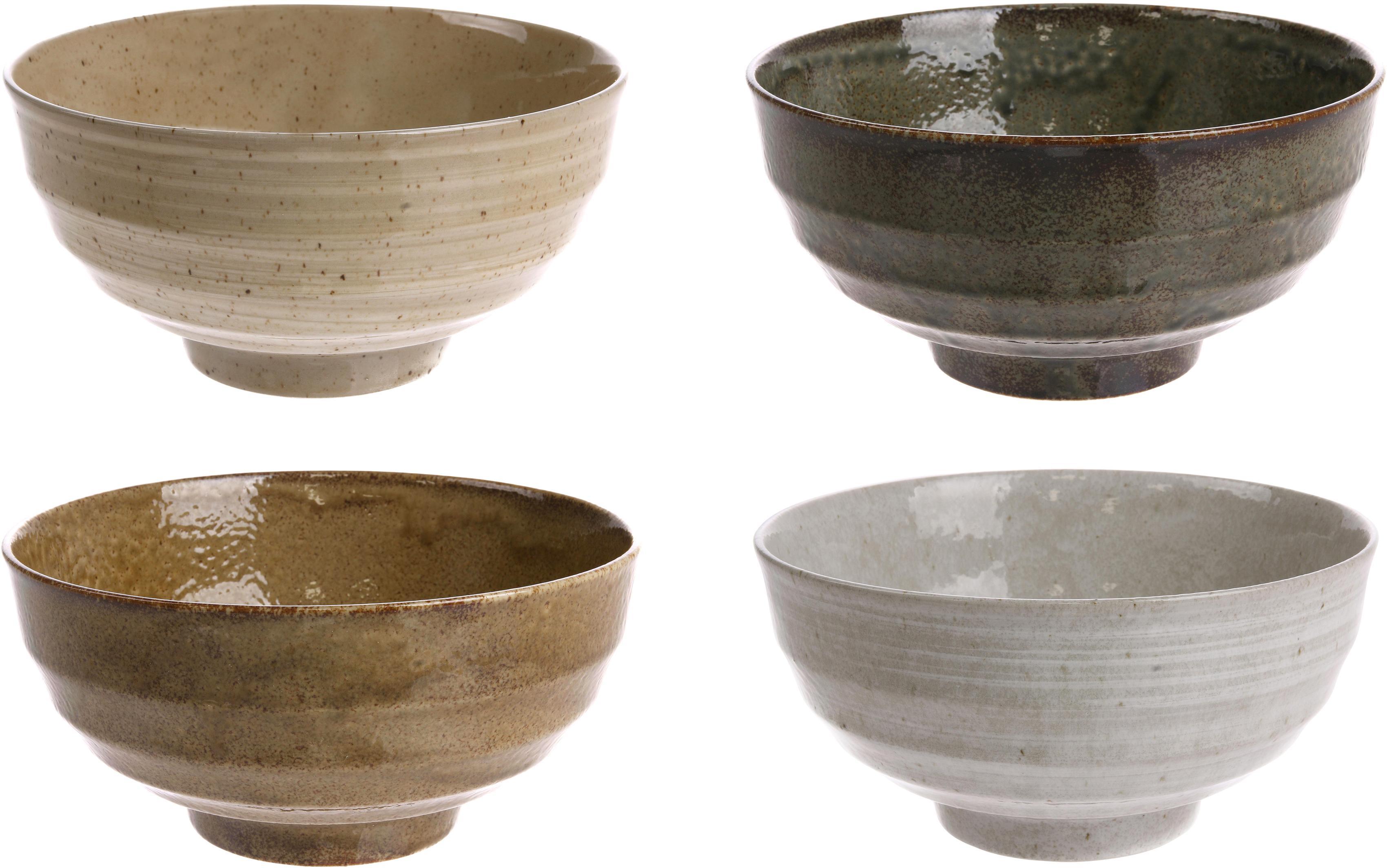 Handgemachte Schälchen Yunomi im japanischem Style, 4er-Set, Keramik, Brauntöne, Ø 17 x H 8 cm