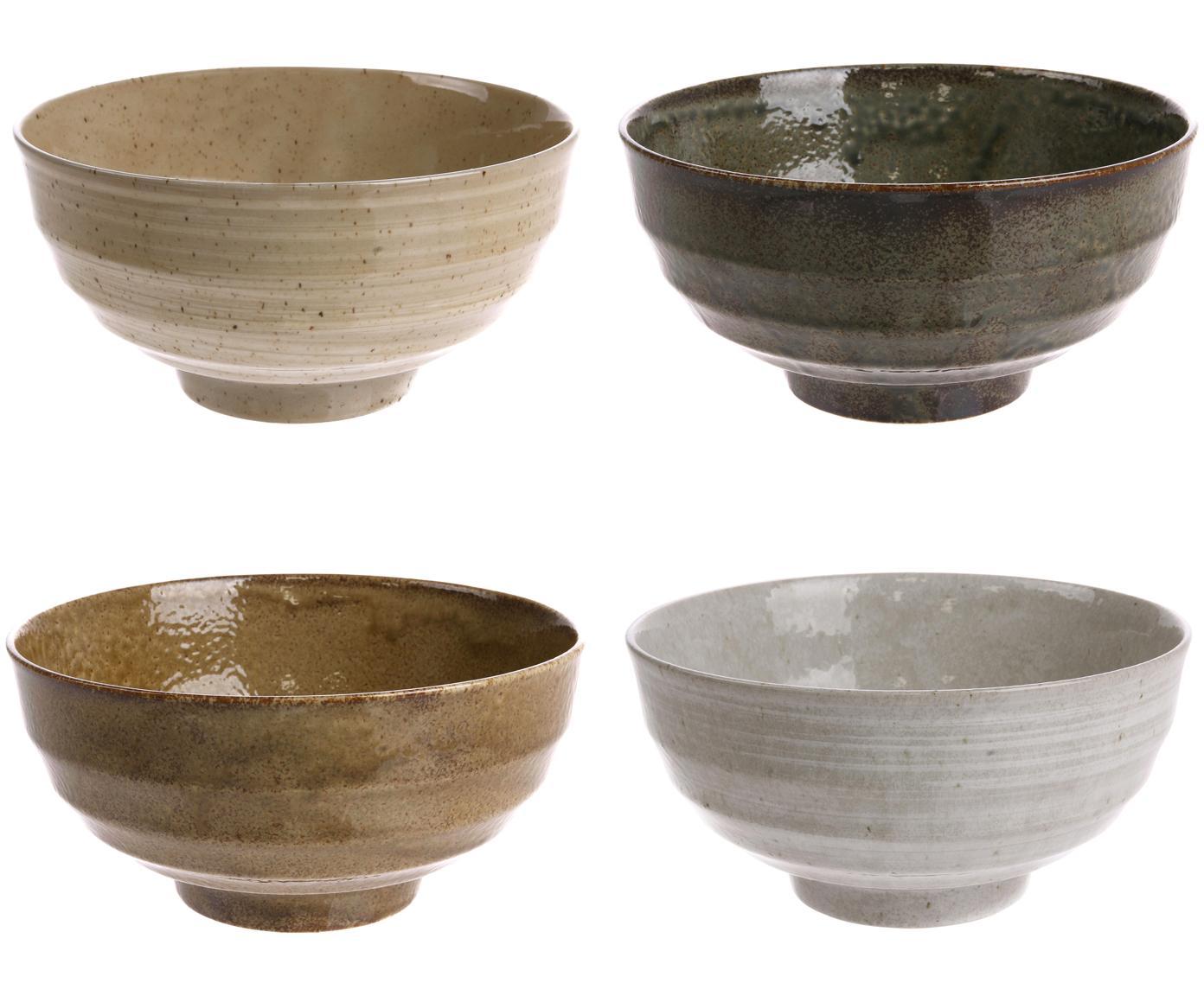 Handgemachte Schälchen Japan, 4er-Set, Keramik, Brauntöne, Ø 17 x H 8 cm