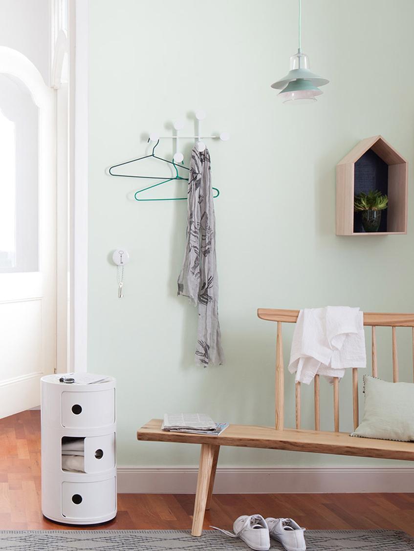 Perchero de pared de diseño Afternoon, Acero con pintura en polvo, Blanco, An 37 x Al 24 cm