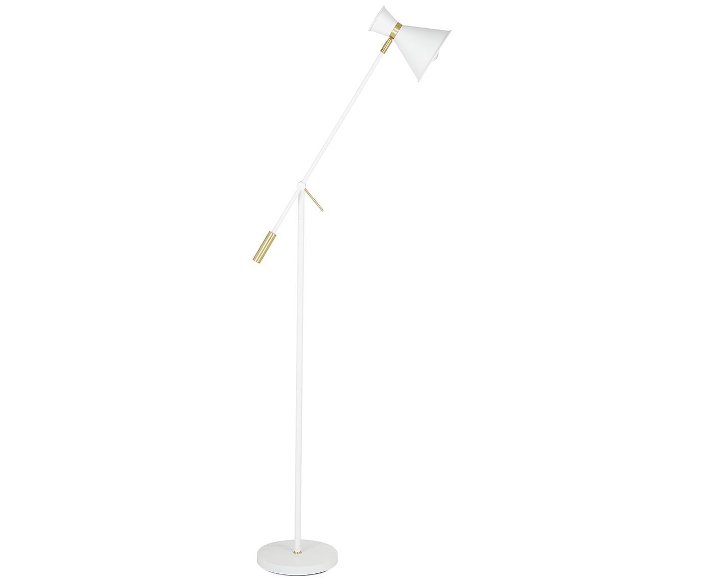 Skandi-Stehlampe Audrey, Lampenschirm: Metall, pulverbeschichtet, Lampenfuß: Metall, pulverbeschichtet, Mattweiß, ∅ 18 x H 145 cm