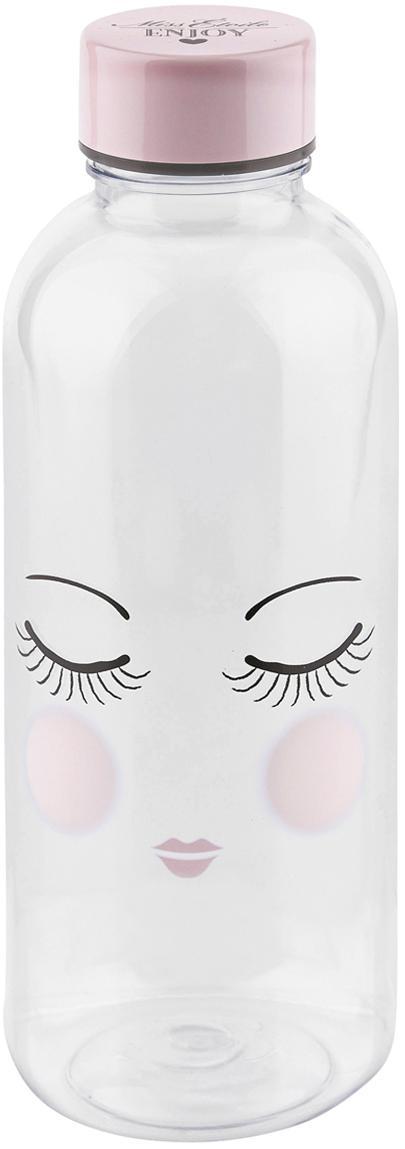 Trinkflasche Les Yeux, Kunststoff, frei von BPA und Phthalaten, Flasche: Transparent, Rosa, Schwarz<br>Deckel: Rosa, Ø 8 x H 21 cm