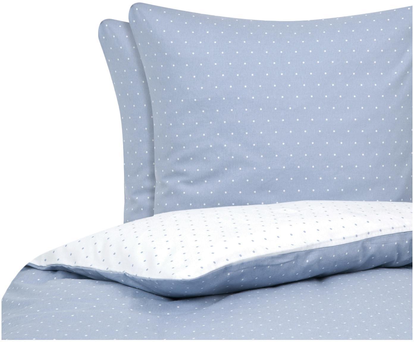 Flanell-Wendebettwäsche Betty, gepunktet, Webart: Flanell Flanell ist ein s, Hellblau, Weiß, 200 x 200 cm + 2 Kissen 80 x 80 cm