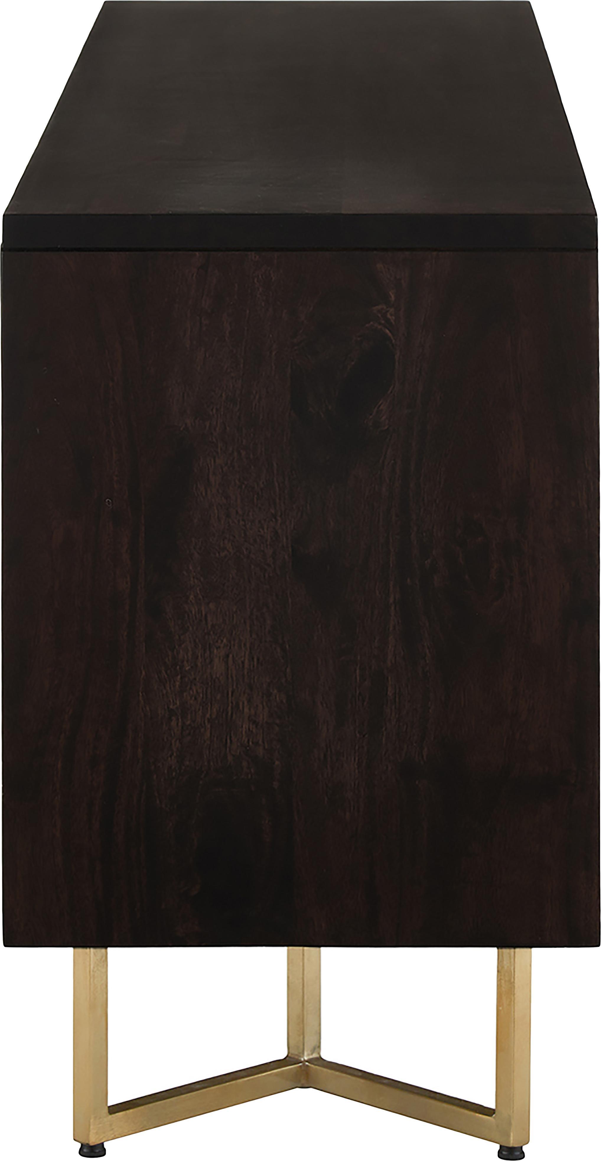 Fischgrät-Sideboard Luca, Korpus: Massives Mangoholz, Gestell: Metall, beschichtet, Dunkelbraun, 160 x 70 cm