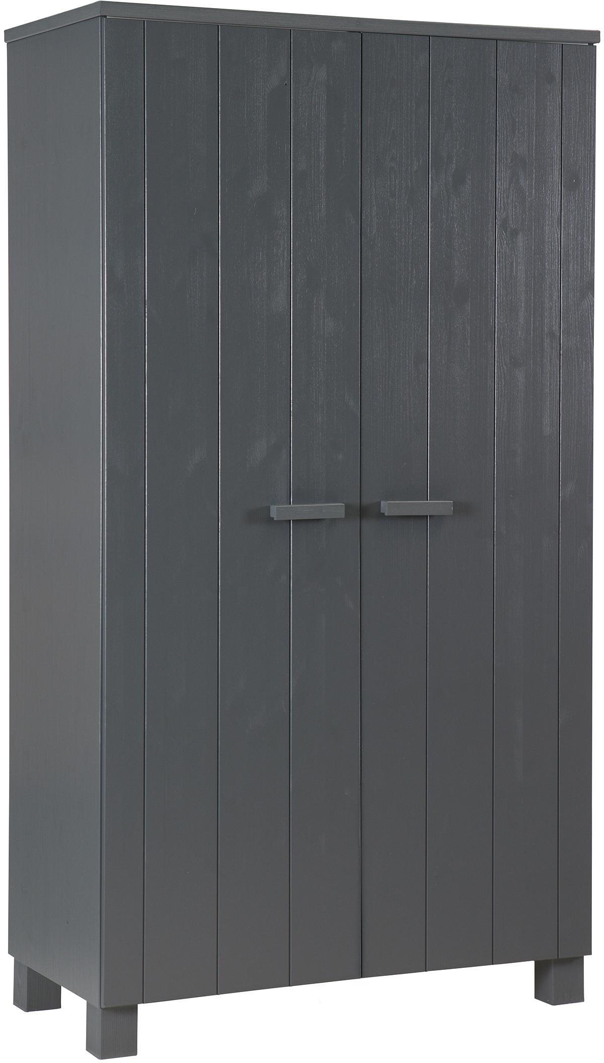 Kleiderschrank Dennis aus Kiefernholz, Korpus: Kiefernholz, gebürstet un, Stahlgrau, 111 x 202 cm