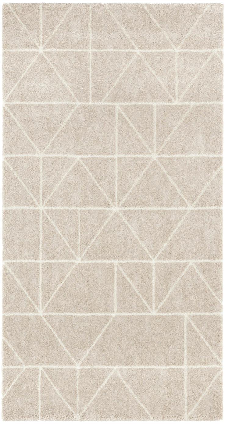 Teppich Arles in Beige-Creme, mit grafischem Muster, Flor: 85% Polypropylen, 15% Pol, Beige, Creme, B 80 x L 150 cm (Grösse XS)