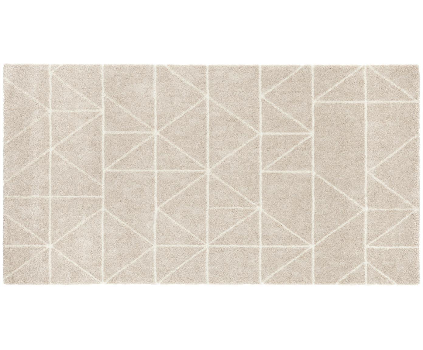 Teppich Arles in Beige-Creme, mit grafischem Muster, Flor: 85% Polypropylen, 15% Pol, Beige, Creme, B 80 x L 150 cm (Größe XS)