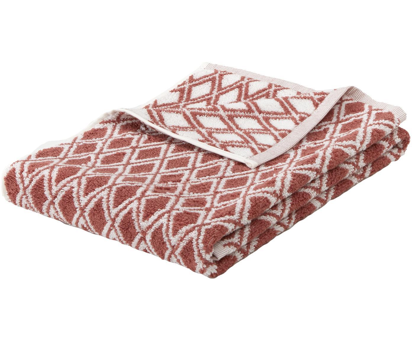 Asciugamano reversibile con motivo grafico Ava, Terracotta, bianco crema, Asciugamano