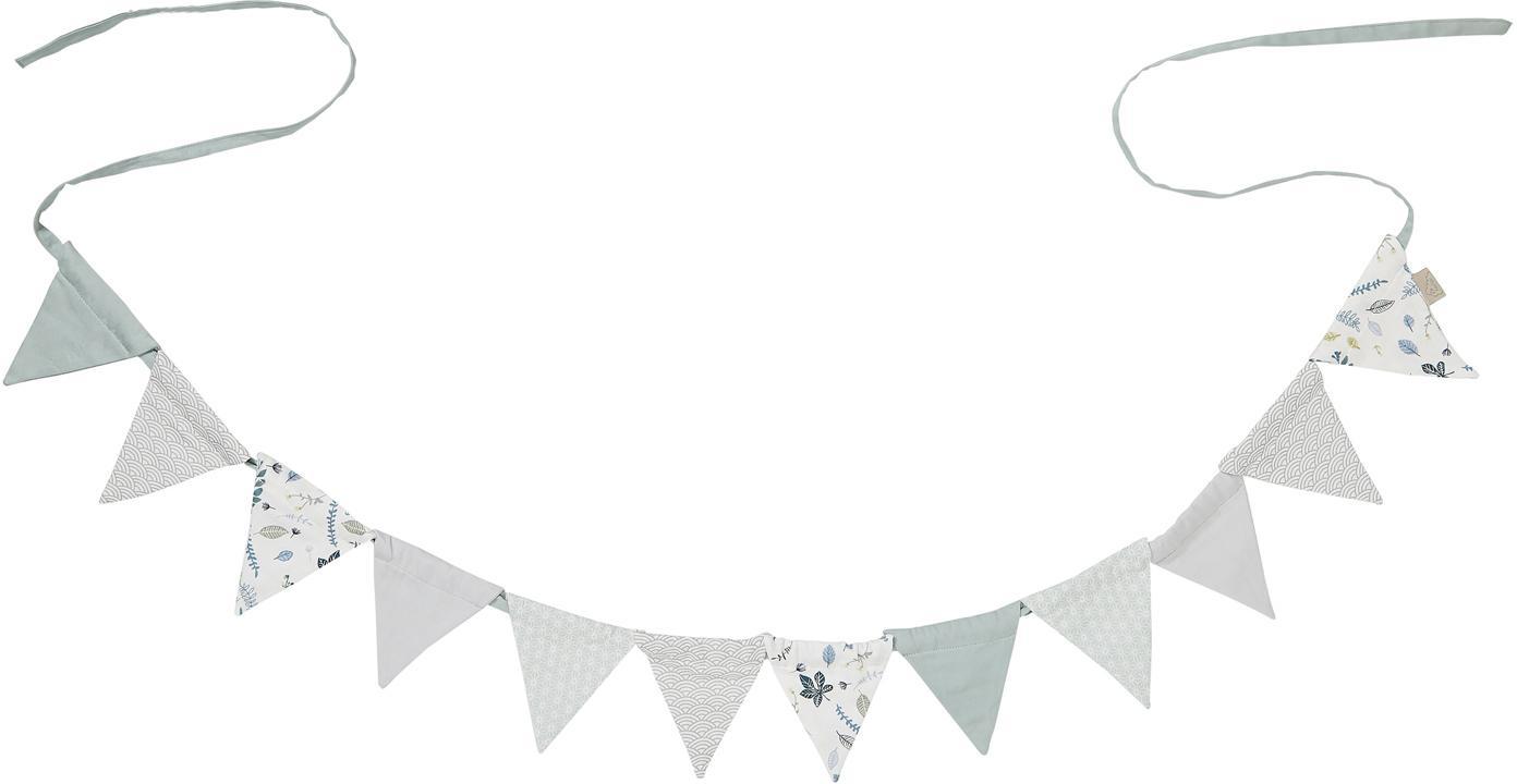 Slinger Flags, Organisch katoen, Groen, grijs, wit, L 230 cm