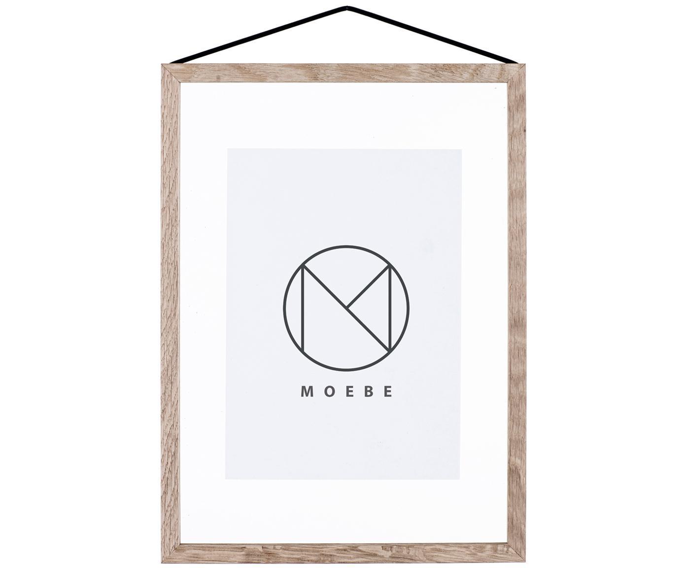 Fotolijst Frame, Frame: Eikenhout, onbehandeld, Frame: Eiken<br>Ophanging: Zwart<br>Voorkant en achterkant: Transparant, 23 x 31 cm