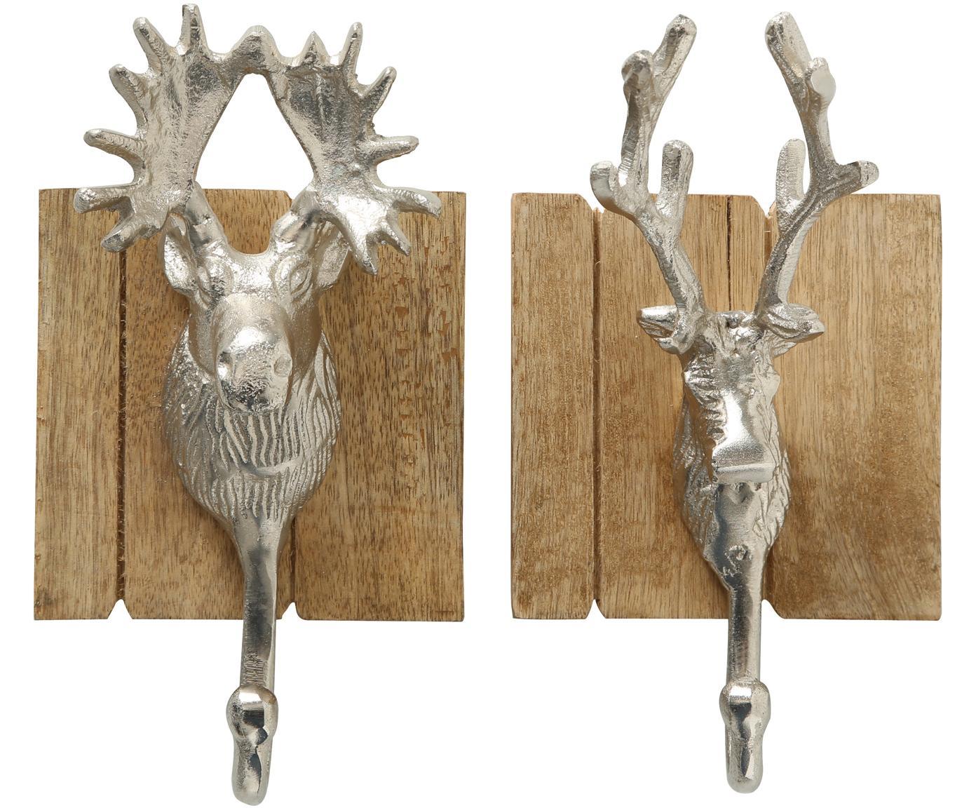 Wandhaken-Set Alfo, 2-tlg., Haken: Aluminium, Mangoholz, Aluminium, 22 x 9 cm