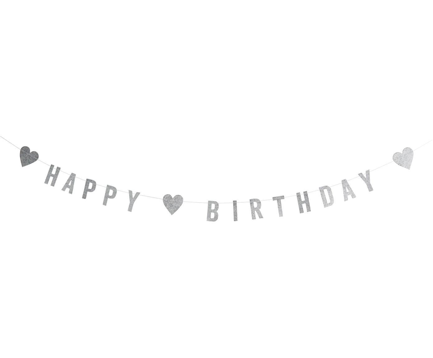 Girlanda z papieru Happy Birthday, Papier, bawełna, Stal szlachetna, D 1000 cm