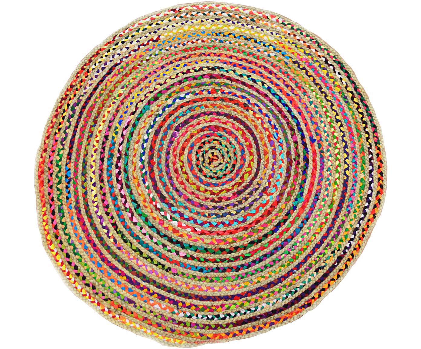 Bunter Jute-Teppich Roberta, rund, Jute, Baumwolle, Mehrfarbig, Ø 120 cm (Größe S)