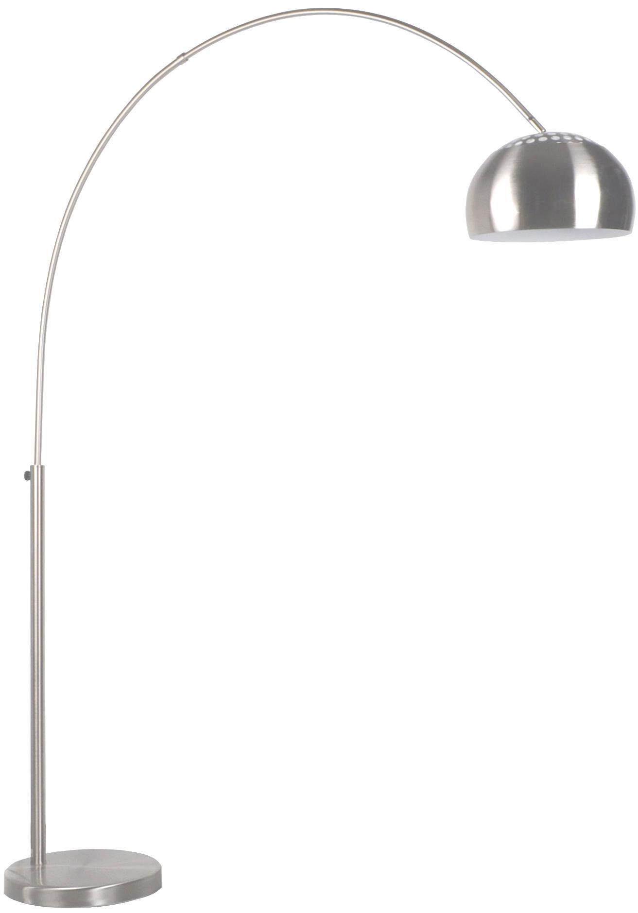 Bogenlampe Metal Bow in Silber, Lampenschirm: Metall, gebürstet, Gestell: Metall, gebürstet, Lampenfuß: Stein mit versilberter Me, Metall, 170 x 205 cm