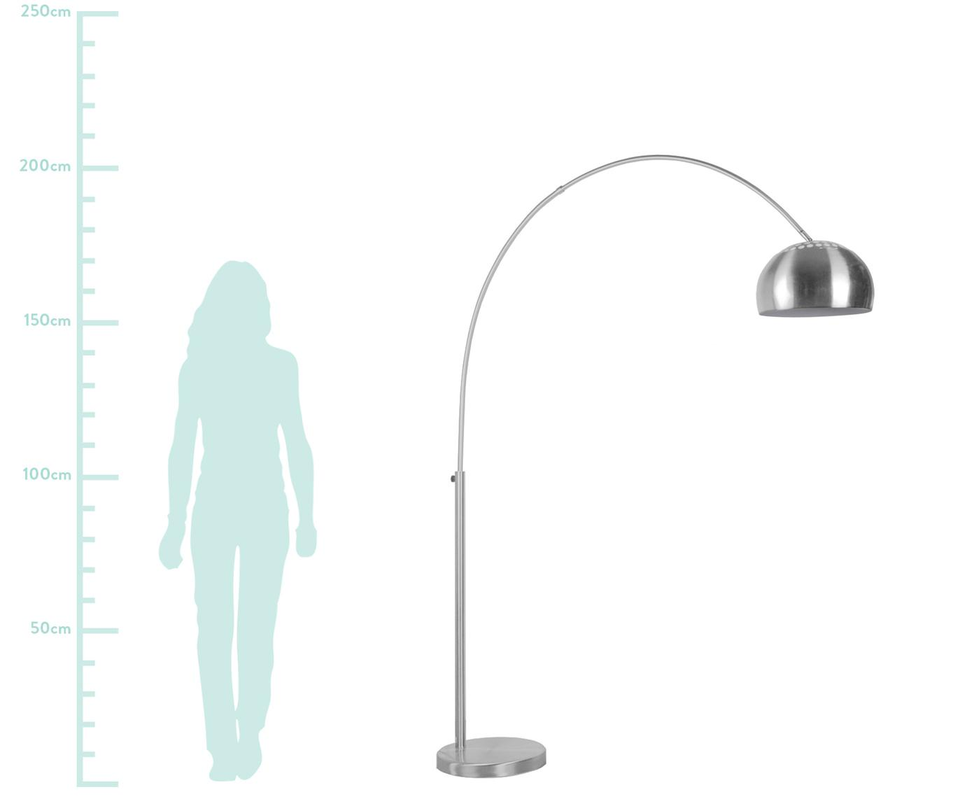 Lampadaire arc argenté à hauteur ajustable Metal Bow, Métal