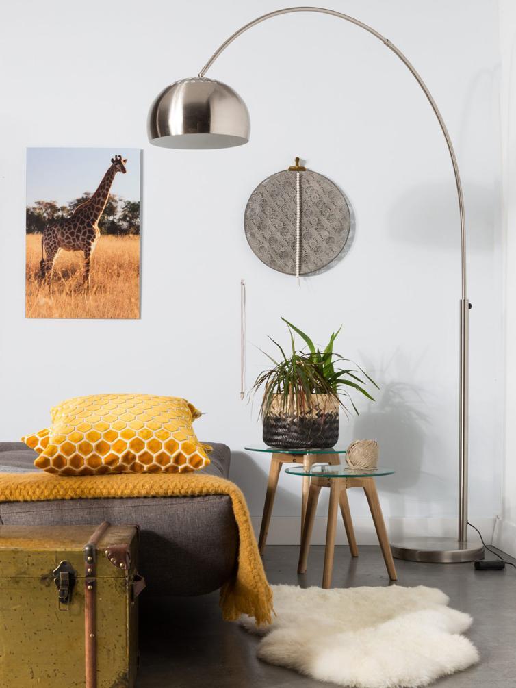 Bogenlampe Metal Bow, höhenverstellbar, Lampenfuß: Marmor mit Metallbeschich, Metall, 170 x 205 cm