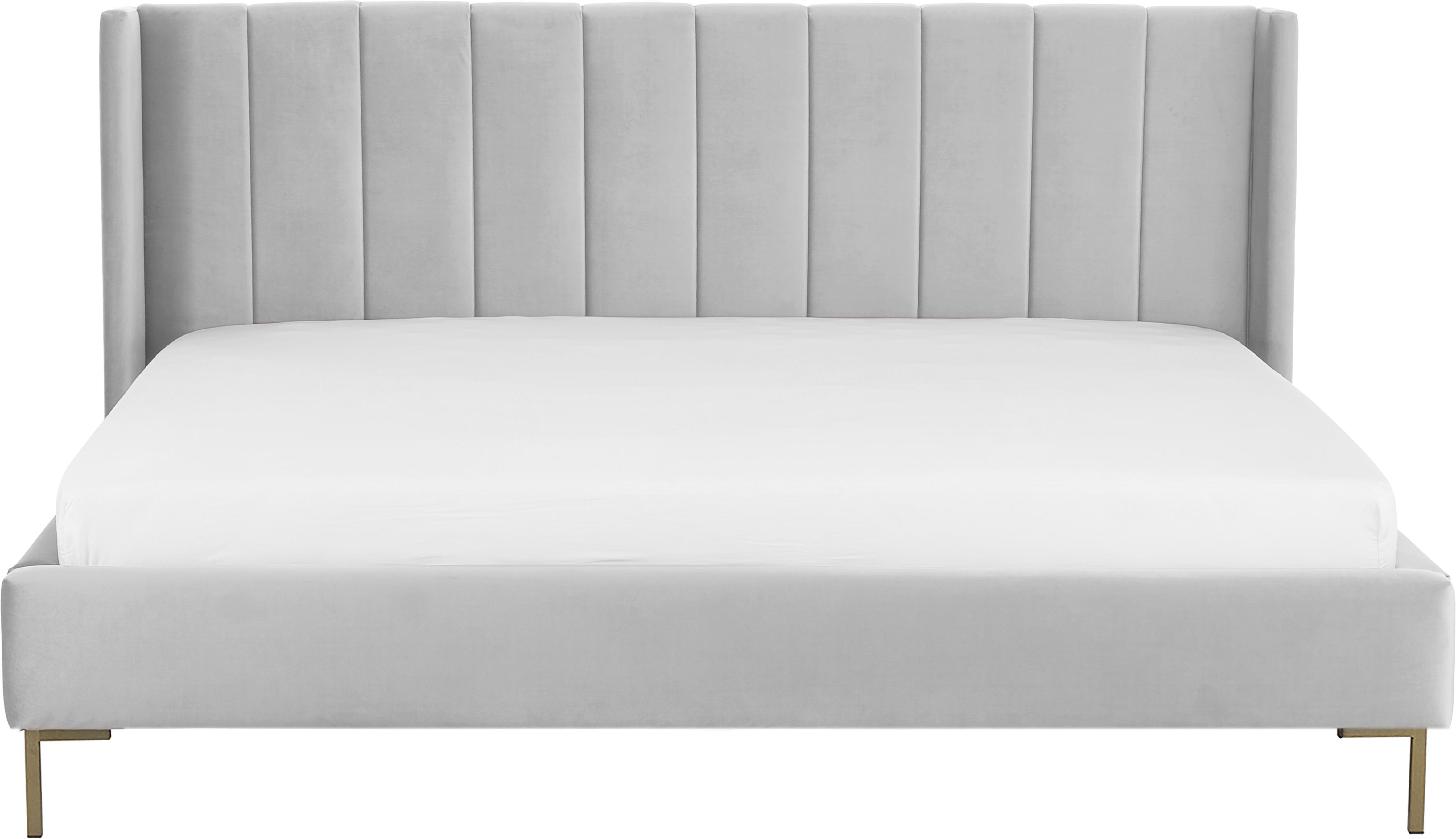 Łóżko tapicerowane z aksamitu Dusk, Korpus: lite drewno sosnowe, Nogi: metal malowany proszkowo, Tapicerka: aksamit poliestrowy 3500, Jasny szary, 180 x 200 cm