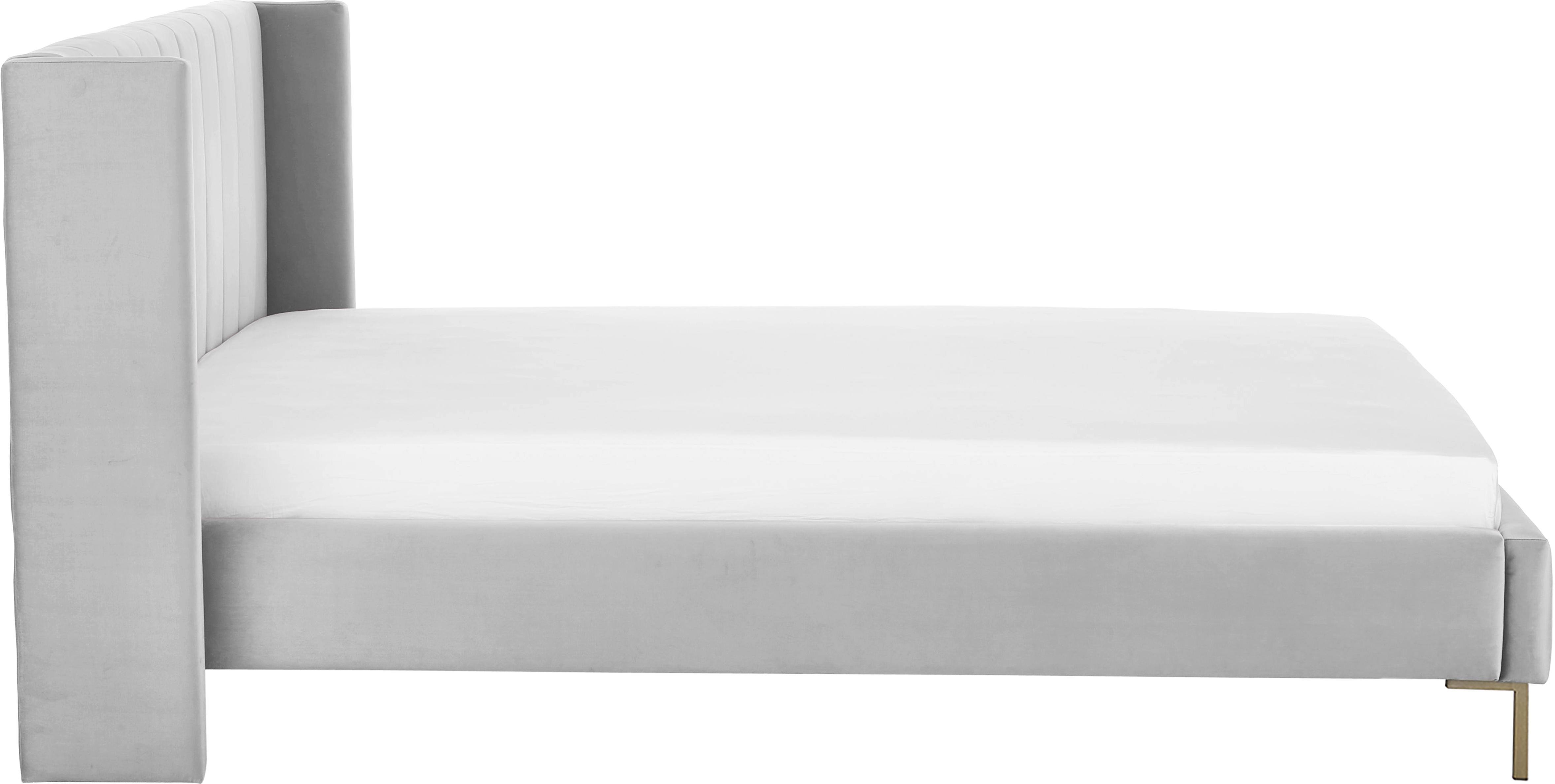 Fluwelen gestoffeerd bed Dusk, Frame: massief grenenhout, Poten: gepoedercoat metaal, Bekleding: polyester fluweel, Lichtgrijs, 180 x 200 cm