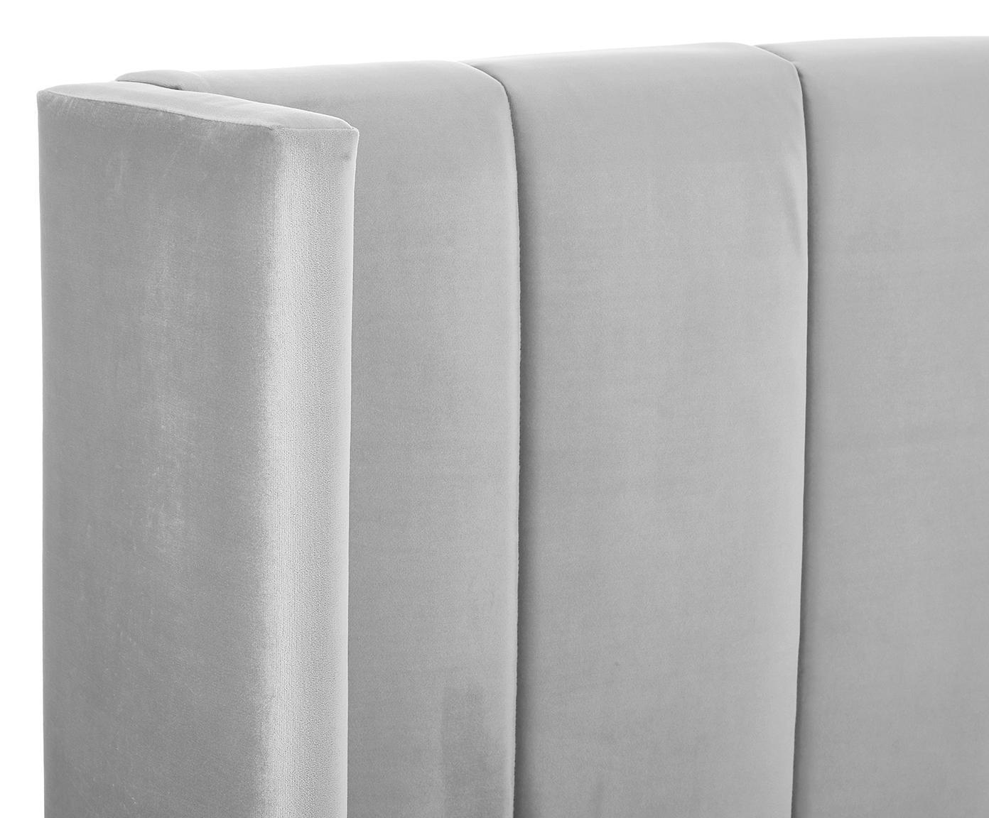 Samt-Polsterbett Dusk, Korpus: Massives Kiefernholz, Bezug: Polyestersamt 30.000 Sche, Hellgrau, 160 x 200 cm