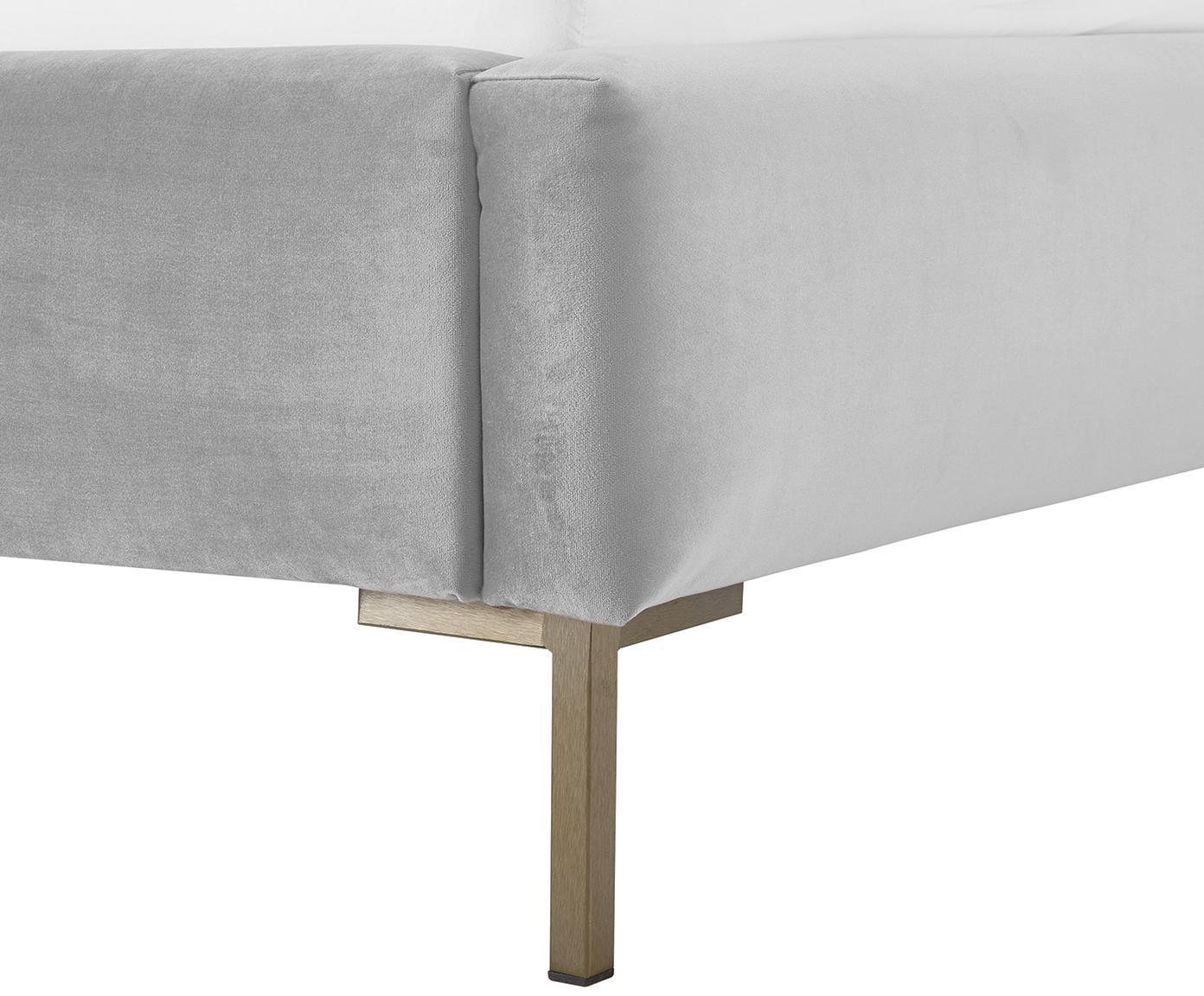 Łóżko tapicerowane z aksamitu Dusk, Korpus: lite drewno sosnowe, Nogi: metal malowany proszkowo, Tapicerka: aksamit poliestrowy 3500, Jasny szary, 160 x 200 cm
