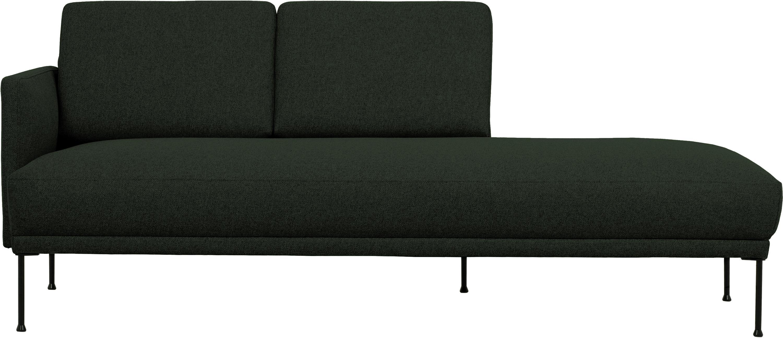 Ottomane Fluente, Bezug: 100% Polyester 40.000 Sch, Gestell: Massives Kiefernholz, Füße: Metall, pulverbeschichtet, Webstoff Dunkelgrün, B 202 x T 85 cm