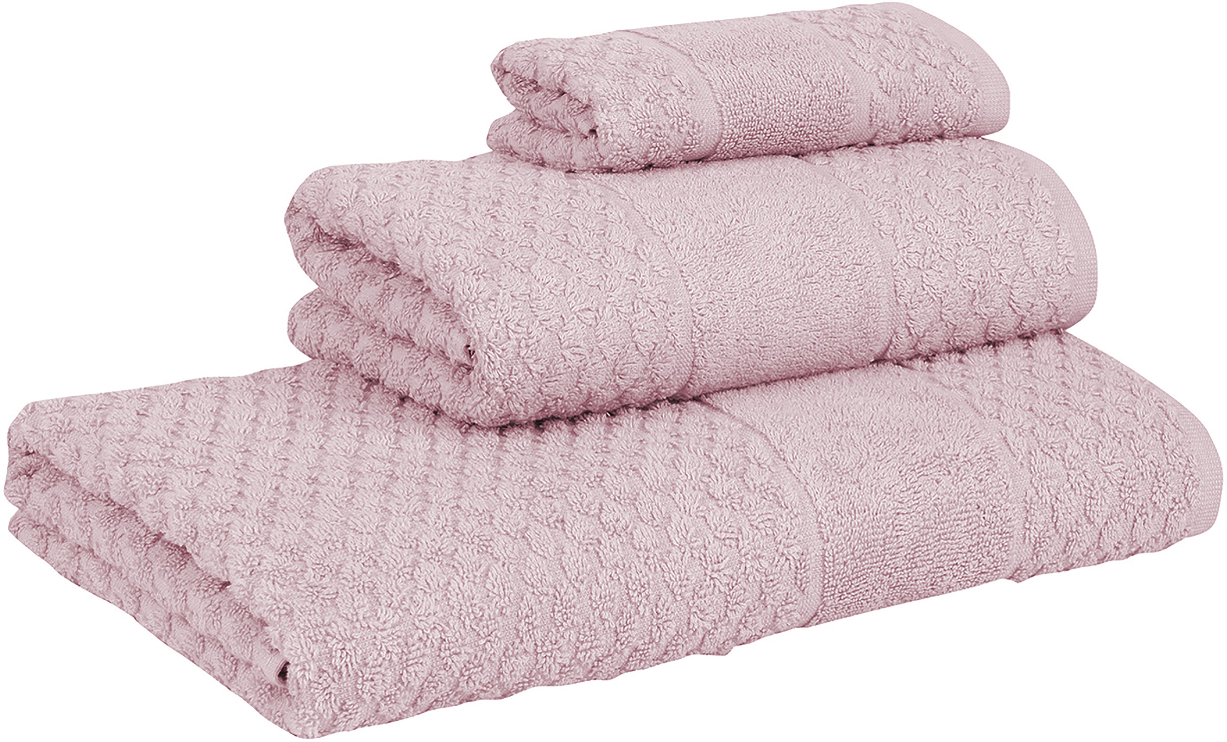 Set de toallas texturizada Katharina, 3pzas., Rosa palo, Tamaños diferentes