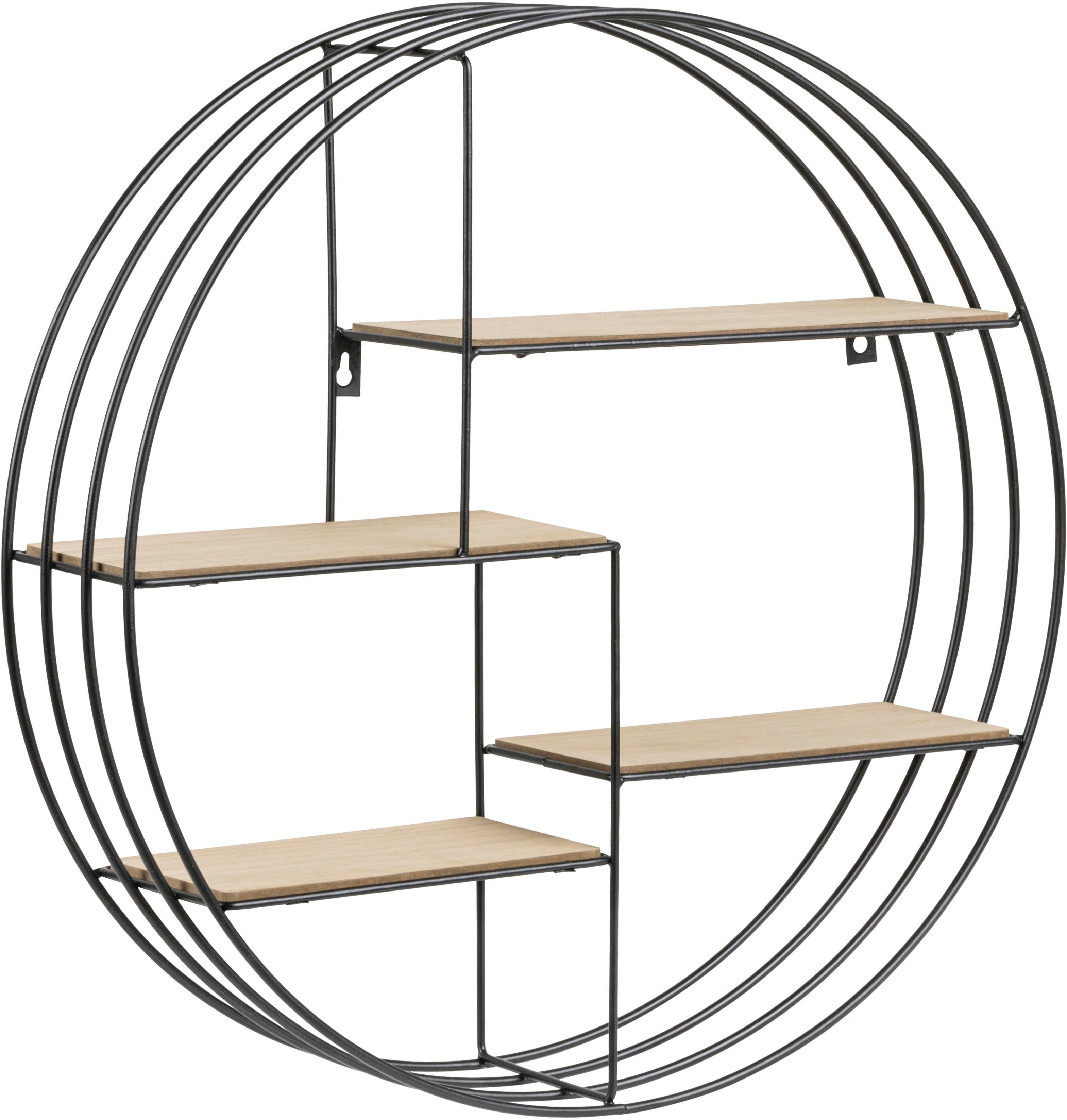 Libreria rotonda da parete Darkenberg, Struttura: metallo, Ripiani: Paulownia, Nero, Ø 45 cm