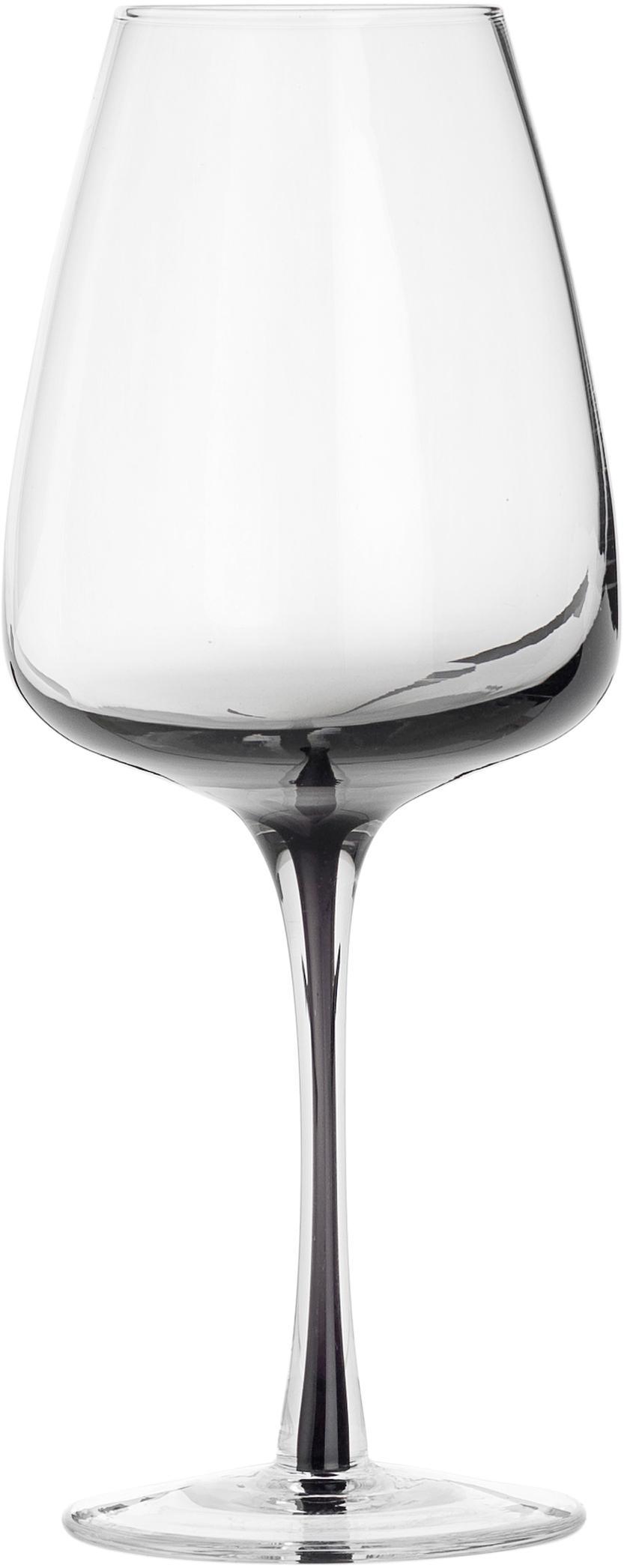 Copas de vino de vidrio soplado Smoke, 4uds., Vidrio soplado y de paredes gruesas, Gris oscuro, Ø 9 x Al 21 cm