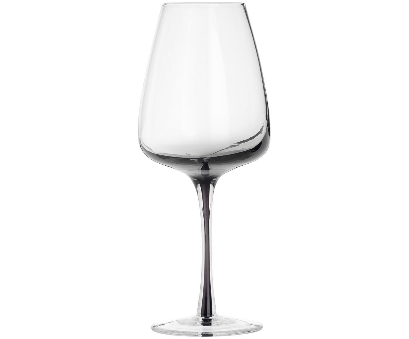 Bicchiere da vino bianco in vetro soffiato Smoke, 4 pz., Vetro, gonfiabile, Grigio scuro, Ø 9 x Alt. 21 cm