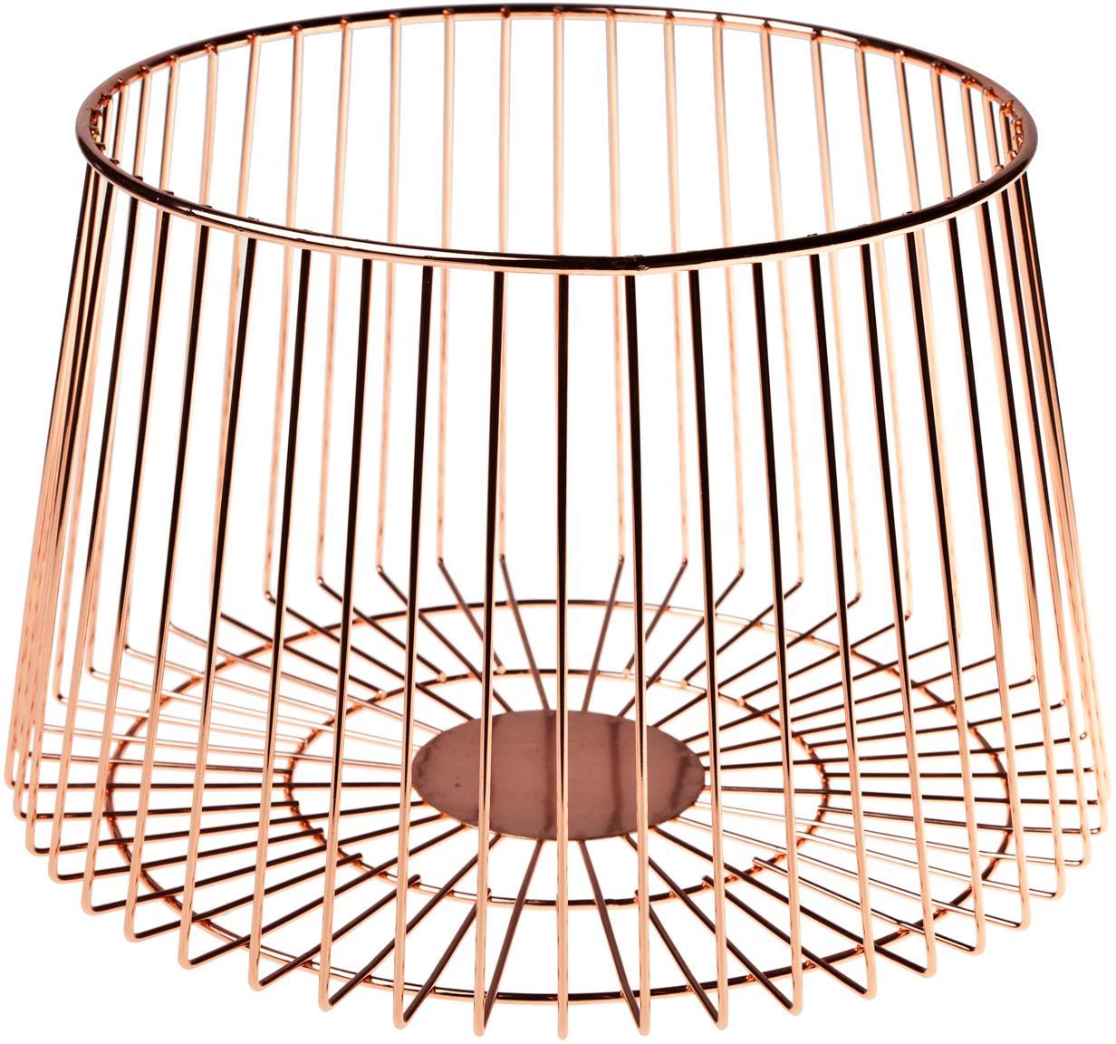 Opbergmand Basket in koperkleur, Gecoat edelstaal, Koperkleurig, Ø 24 x H 16 cm